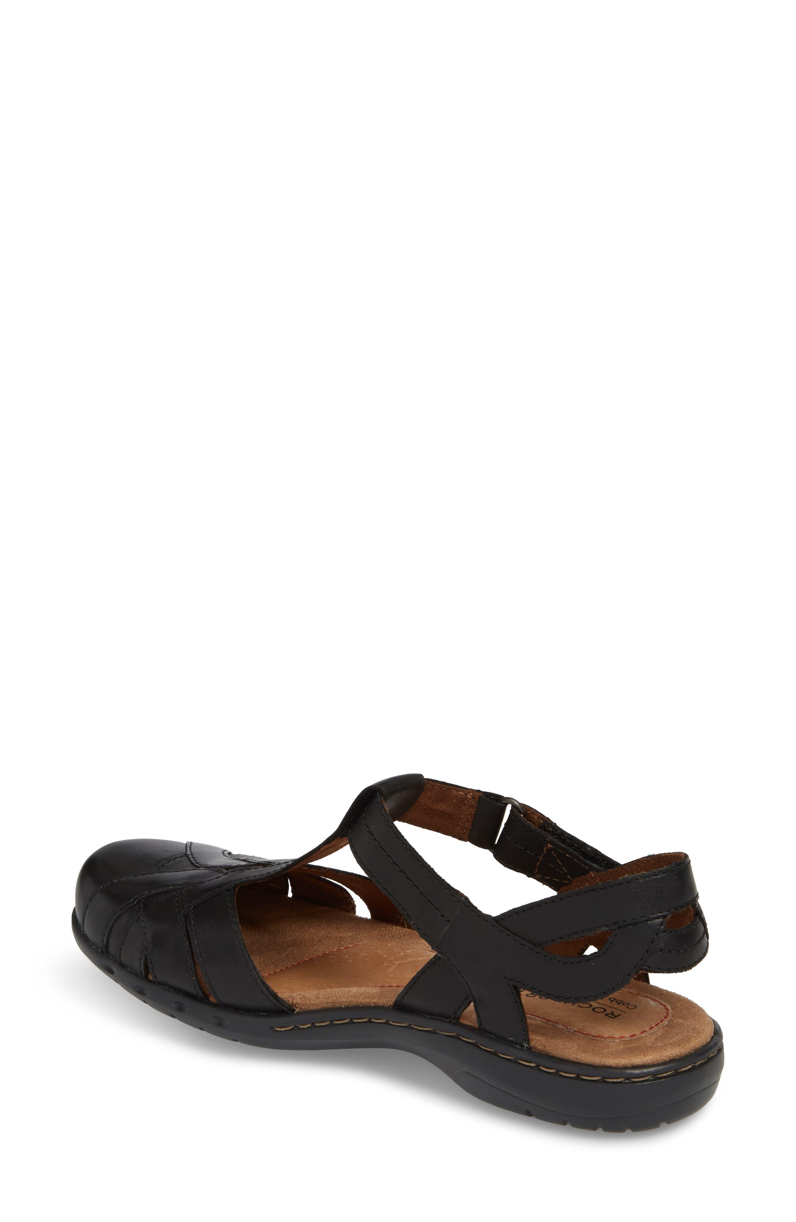 Penefield T-Strap Sandal,                             Alternate thumbnail 2, color,                             BLACK LEATHER