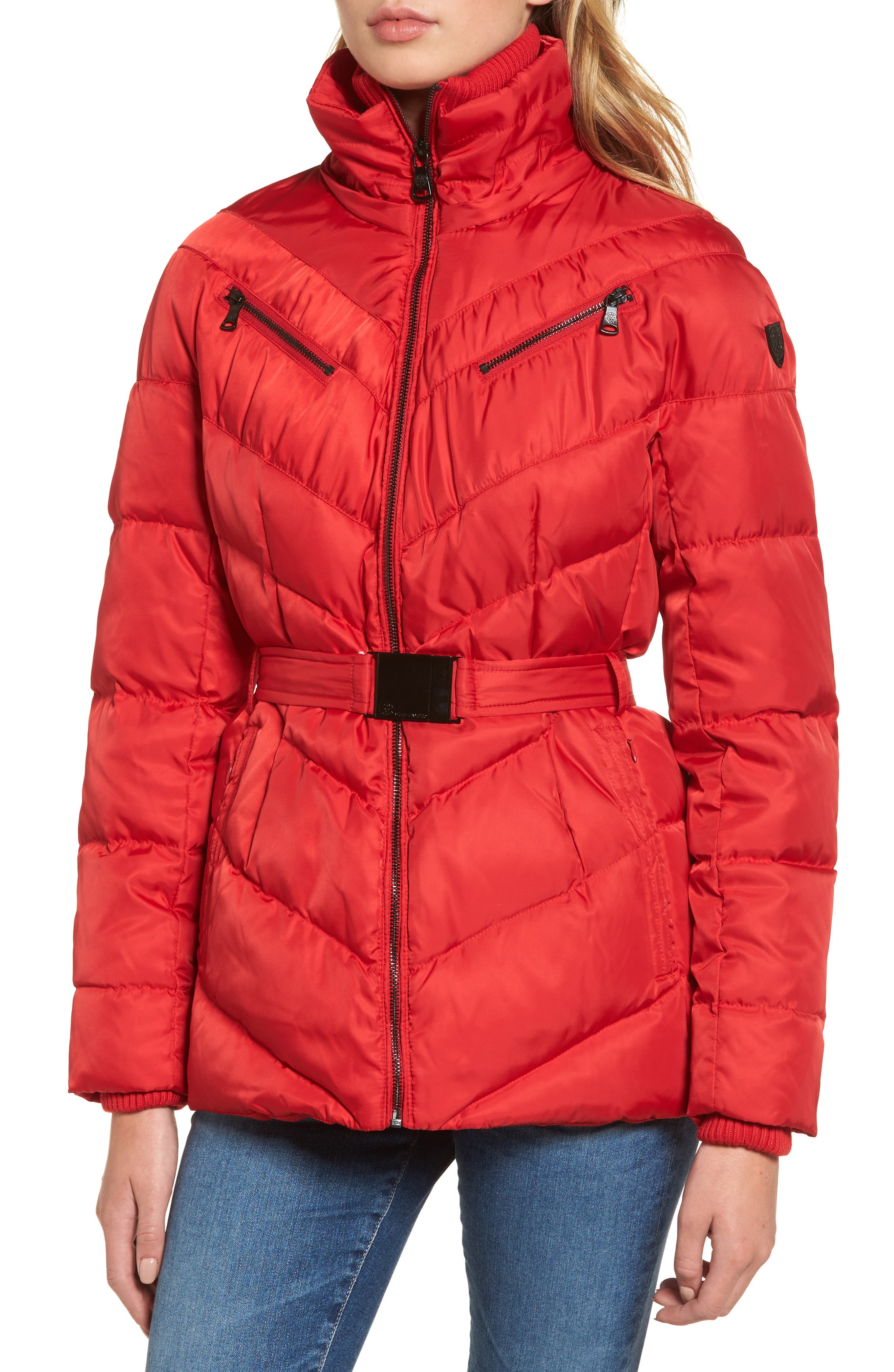 Belted Down & Feather Fill Coat with Faux Fur Trim Hood,                             Alternate thumbnail 16, color,
