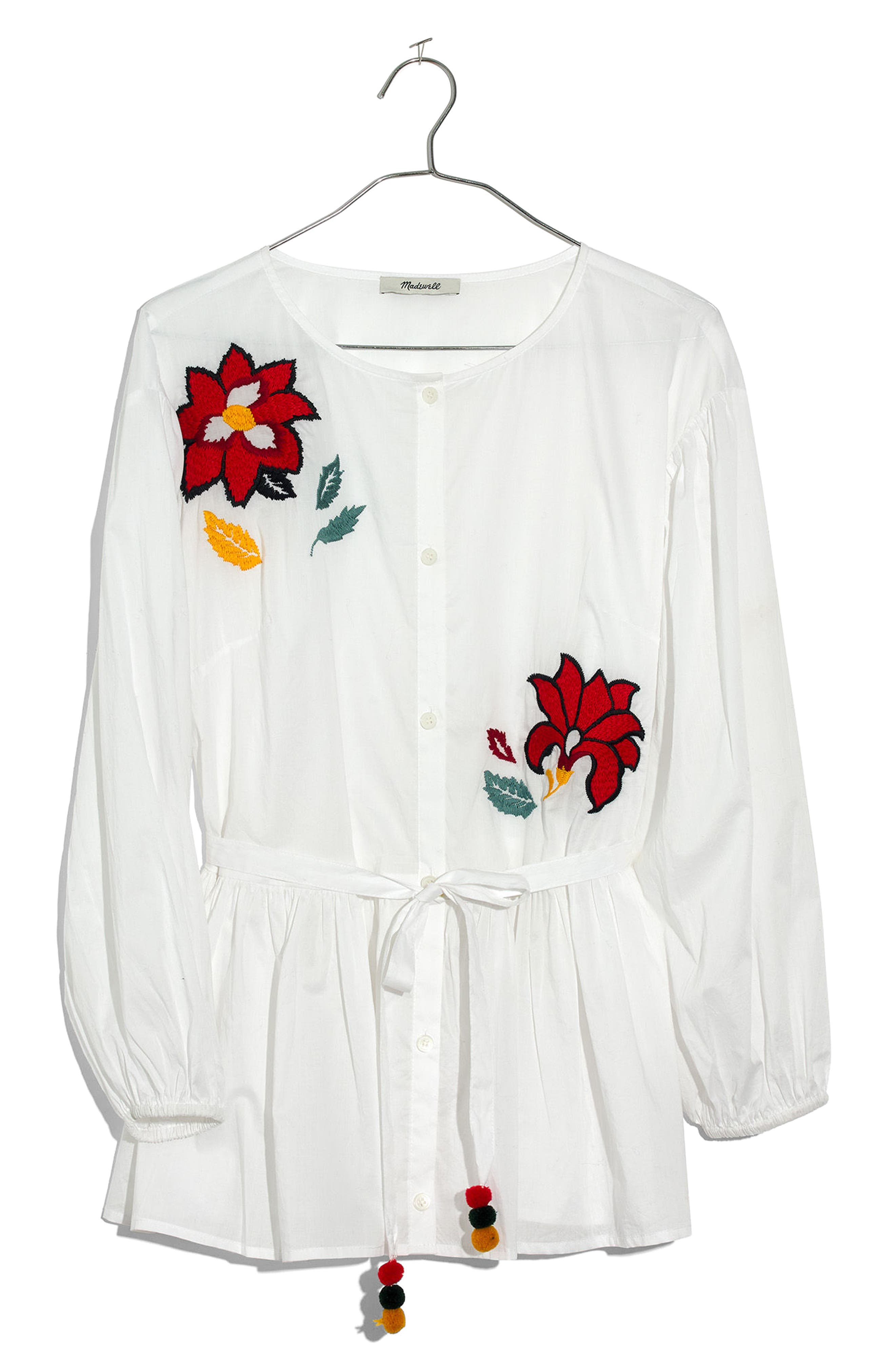 Embroidered Babydoll Shirt,                             Alternate thumbnail 3, color,                             100