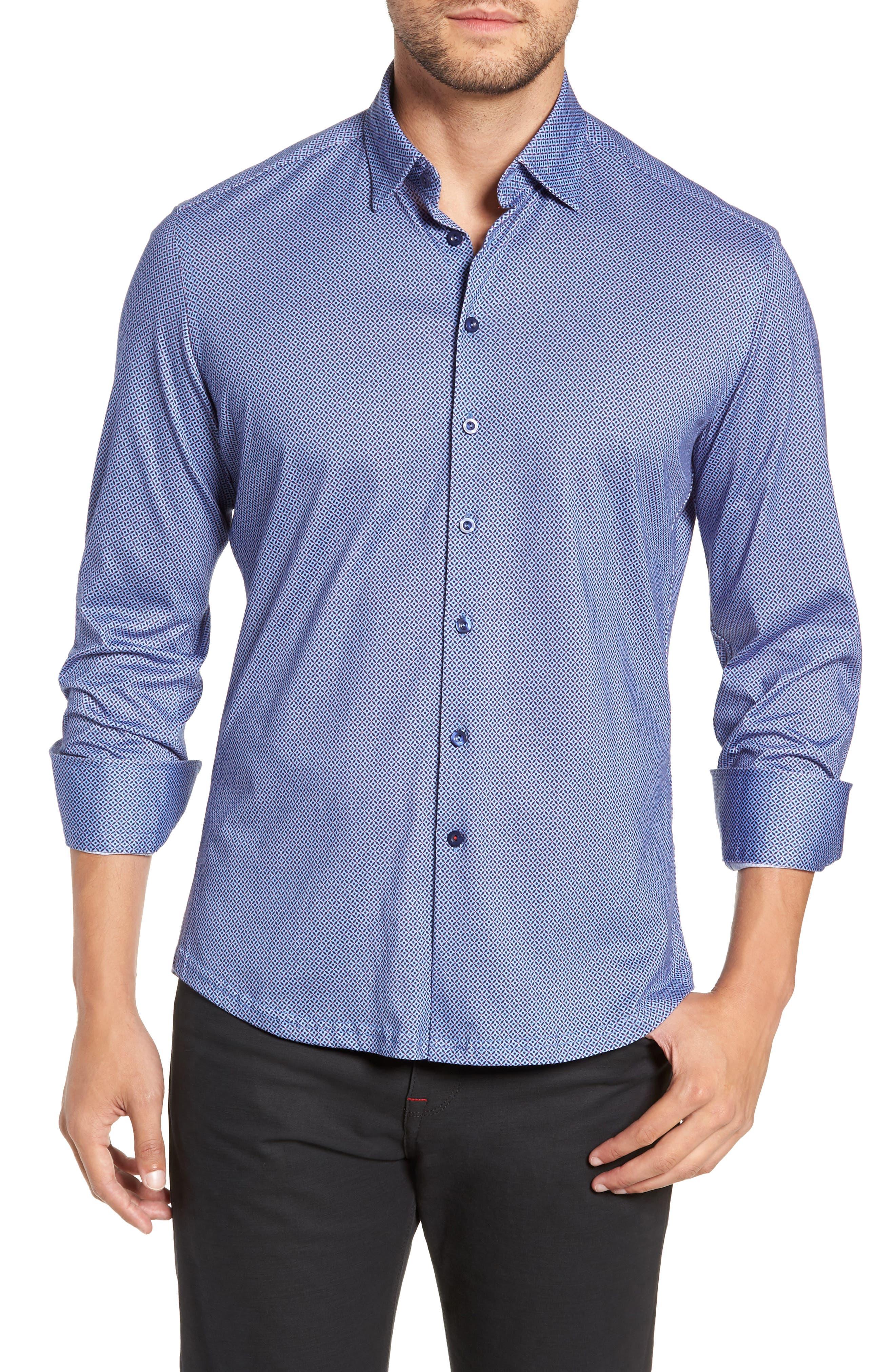 Trim Fit Sport Shirt,                         Main,                         color, GRAY