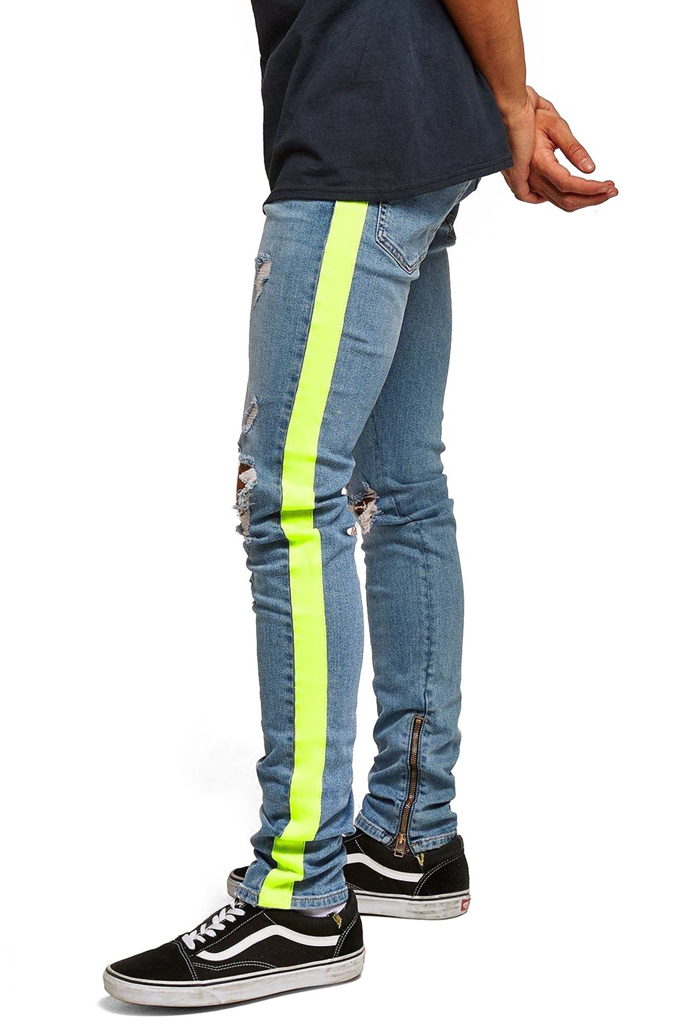 Side Tape Stretch Skinny Fit Jeans,                             Alternate thumbnail 3, color,                             BLUE MULTI
