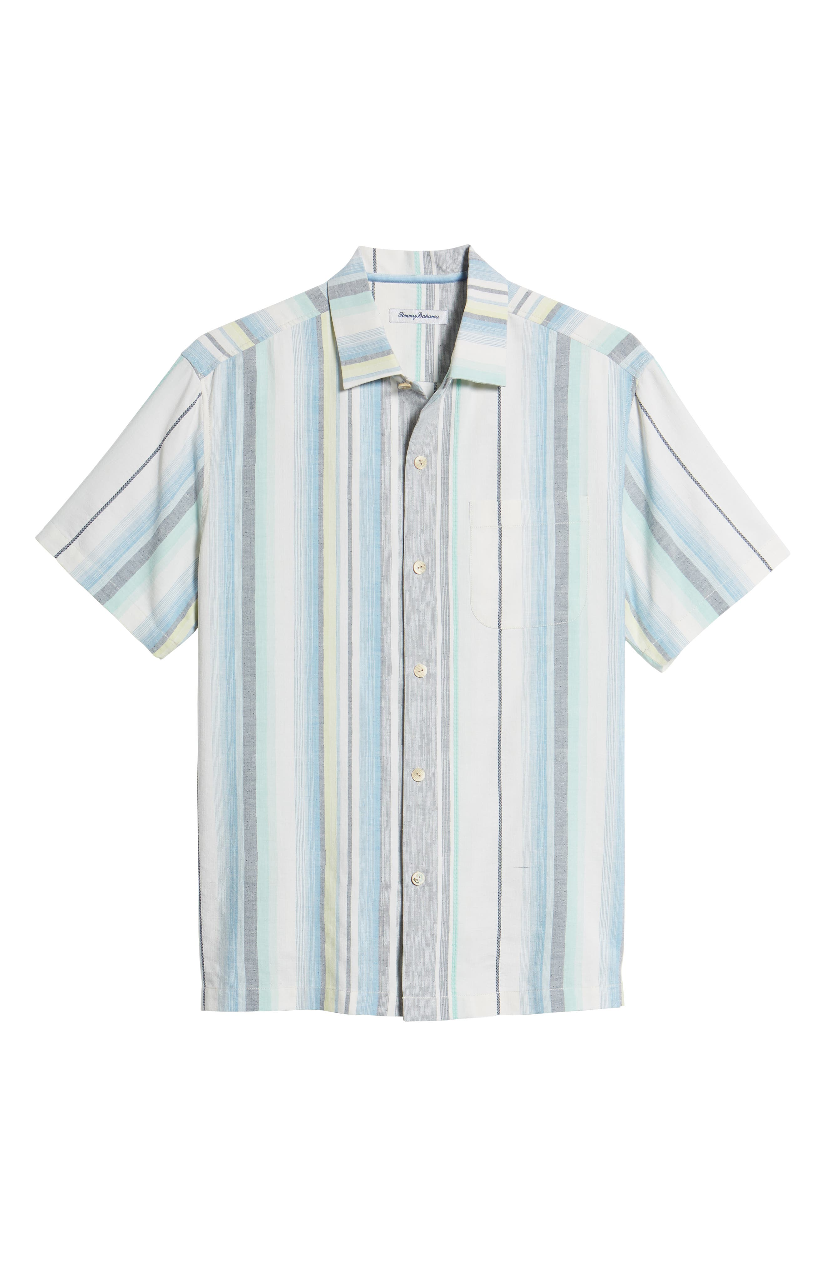 Posado Sands Silk Camp Shirt,                             Alternate thumbnail 6, color,                             BLUE ASTER