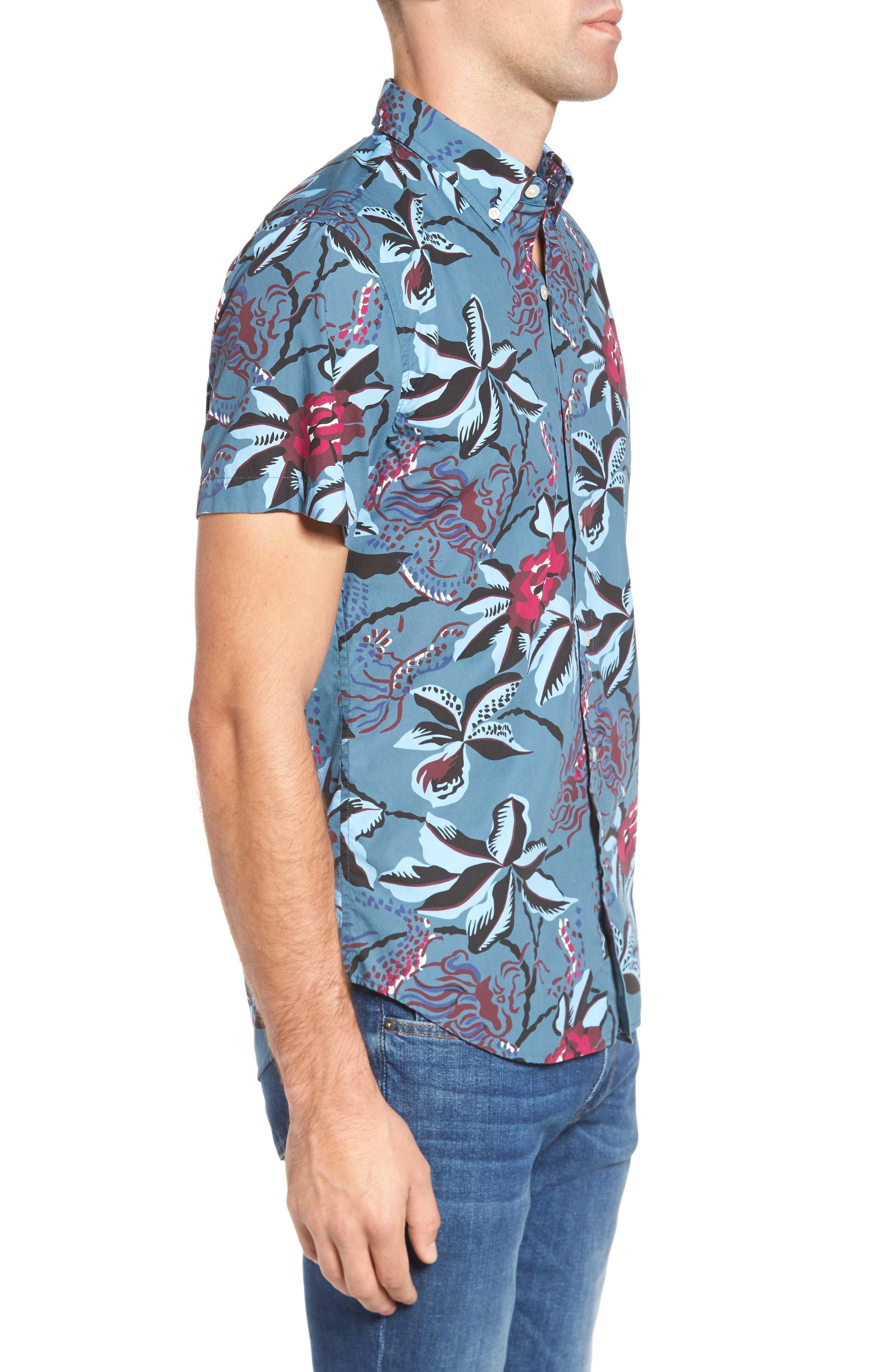 Slim Fit Floral Print Sport Shirt,                             Alternate thumbnail 3, color,                             400