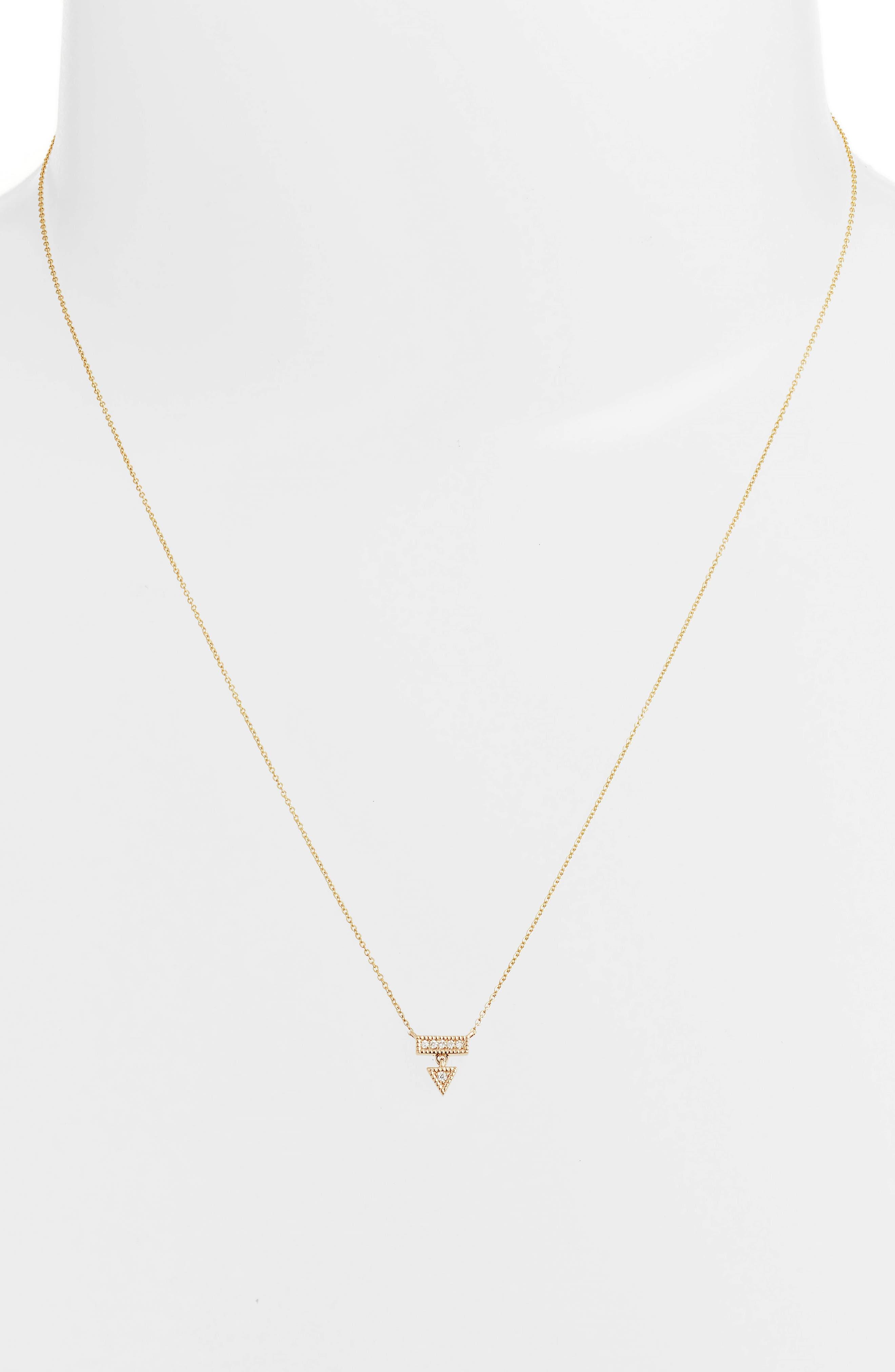 Emily Sarah Diamond Triangle Dangle Necklace,                             Alternate thumbnail 2, color,                             YELLOW GOLD