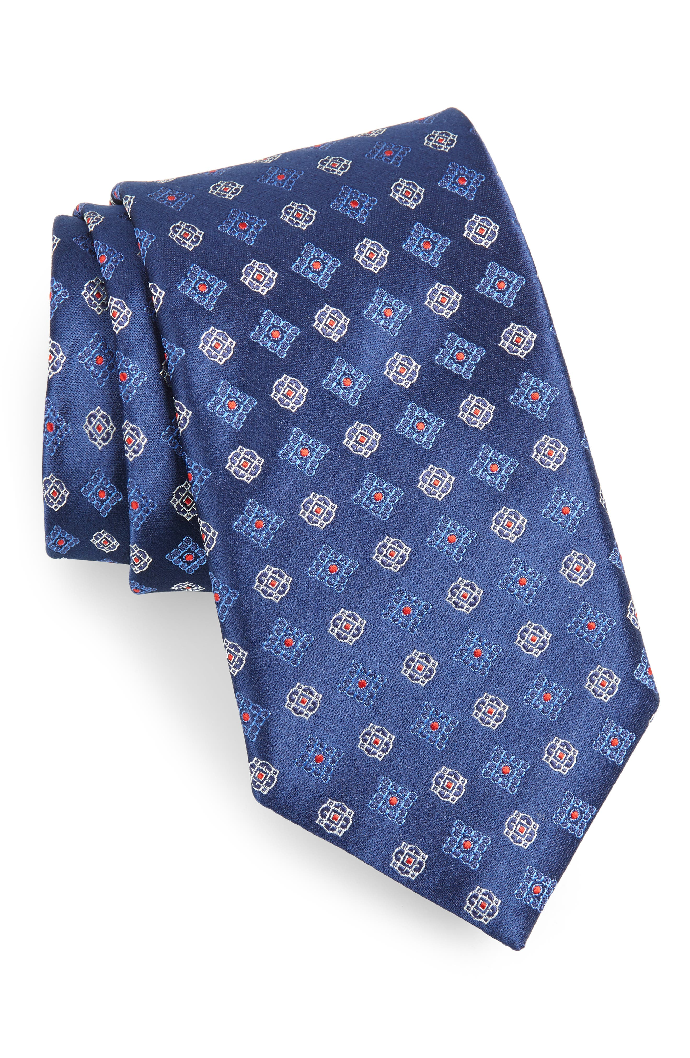 Medallion Silk Tie,                             Main thumbnail 1, color,                             NAVY