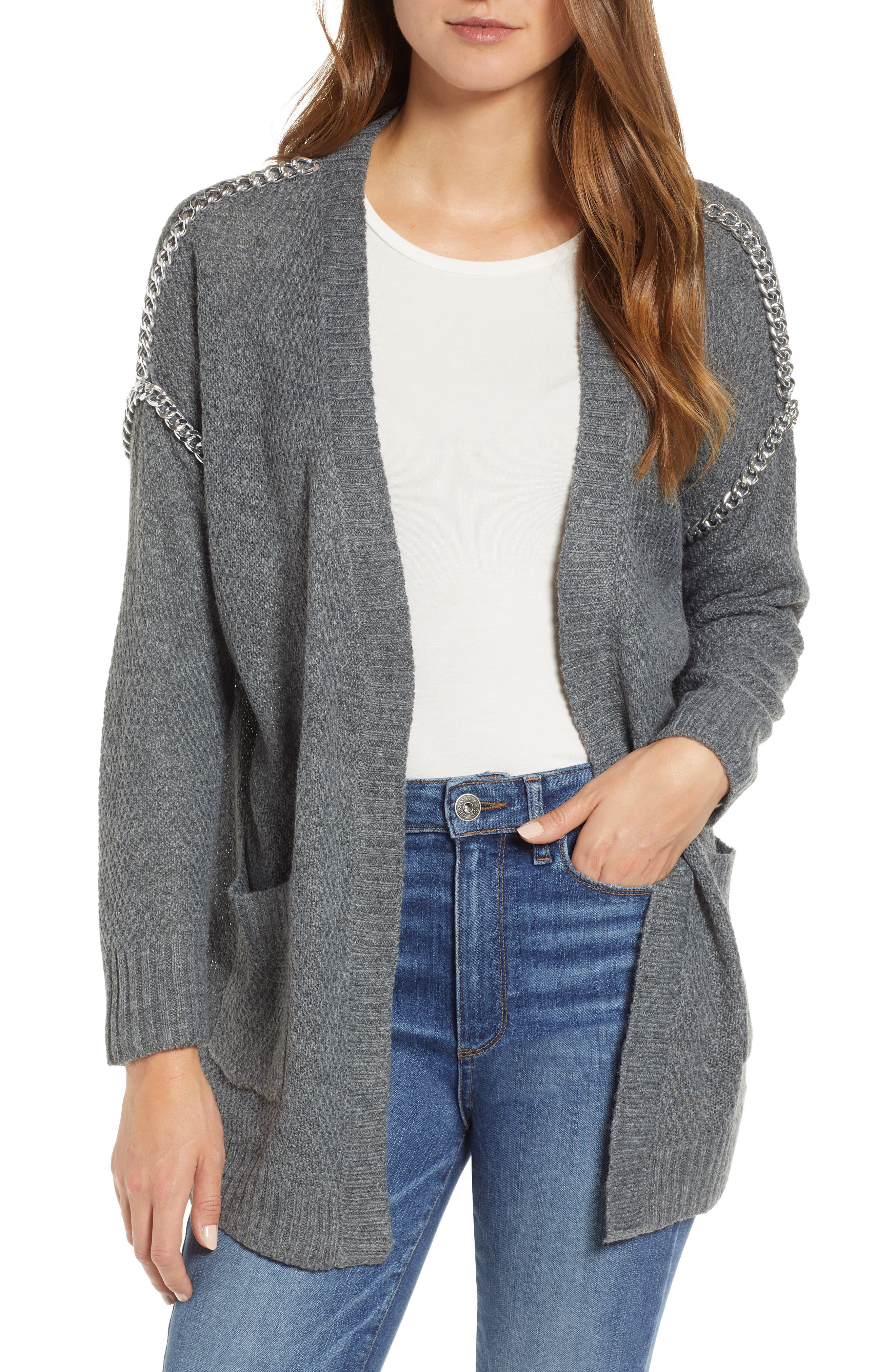 Chain Trim Cardigan,                             Main thumbnail 1, color,                             CHARCOAL