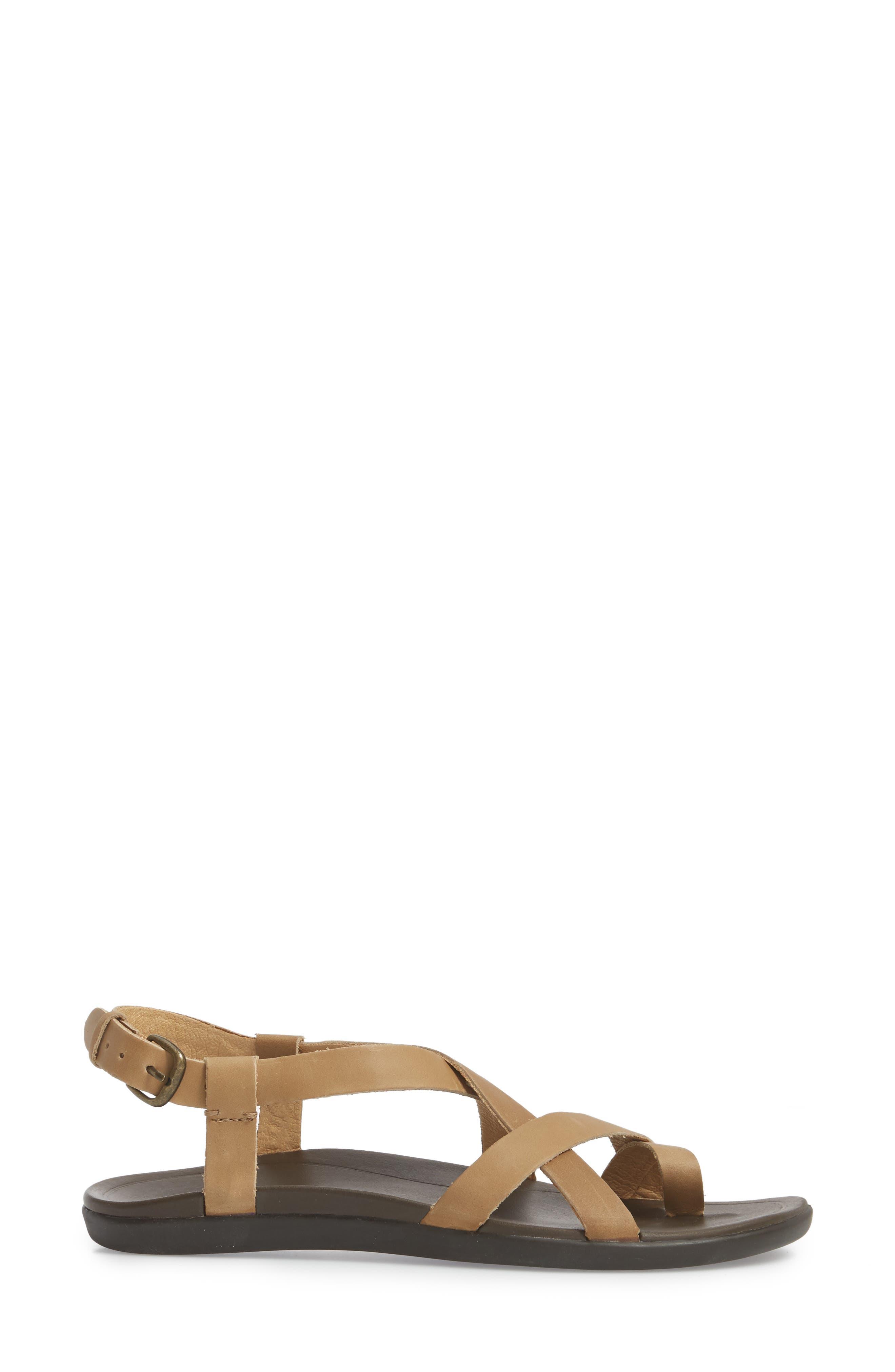 'Upena' Flat Sandal,                             Alternate thumbnail 3, color,                             GOLDEN SAND/ SAND LEATHER