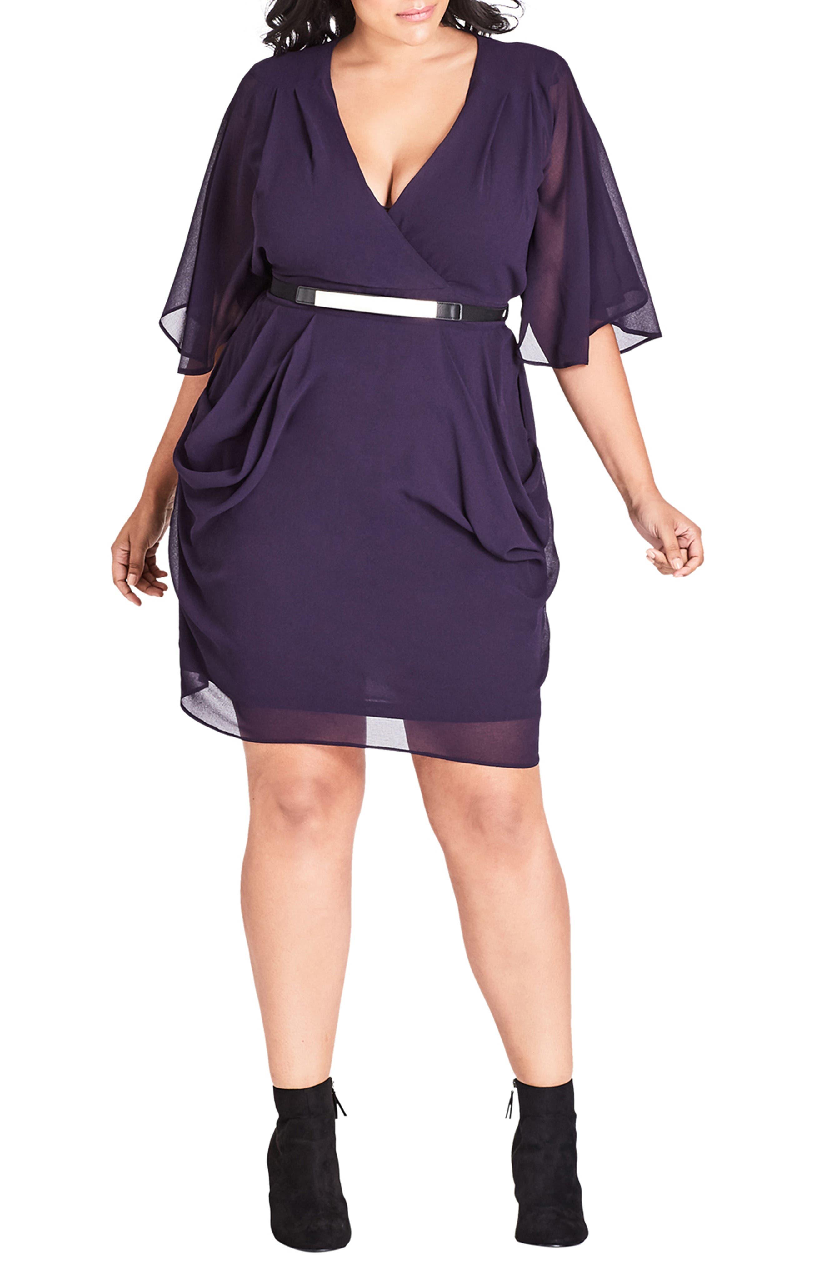 Plus Size City Chic Belted Wrap Dress, Purple