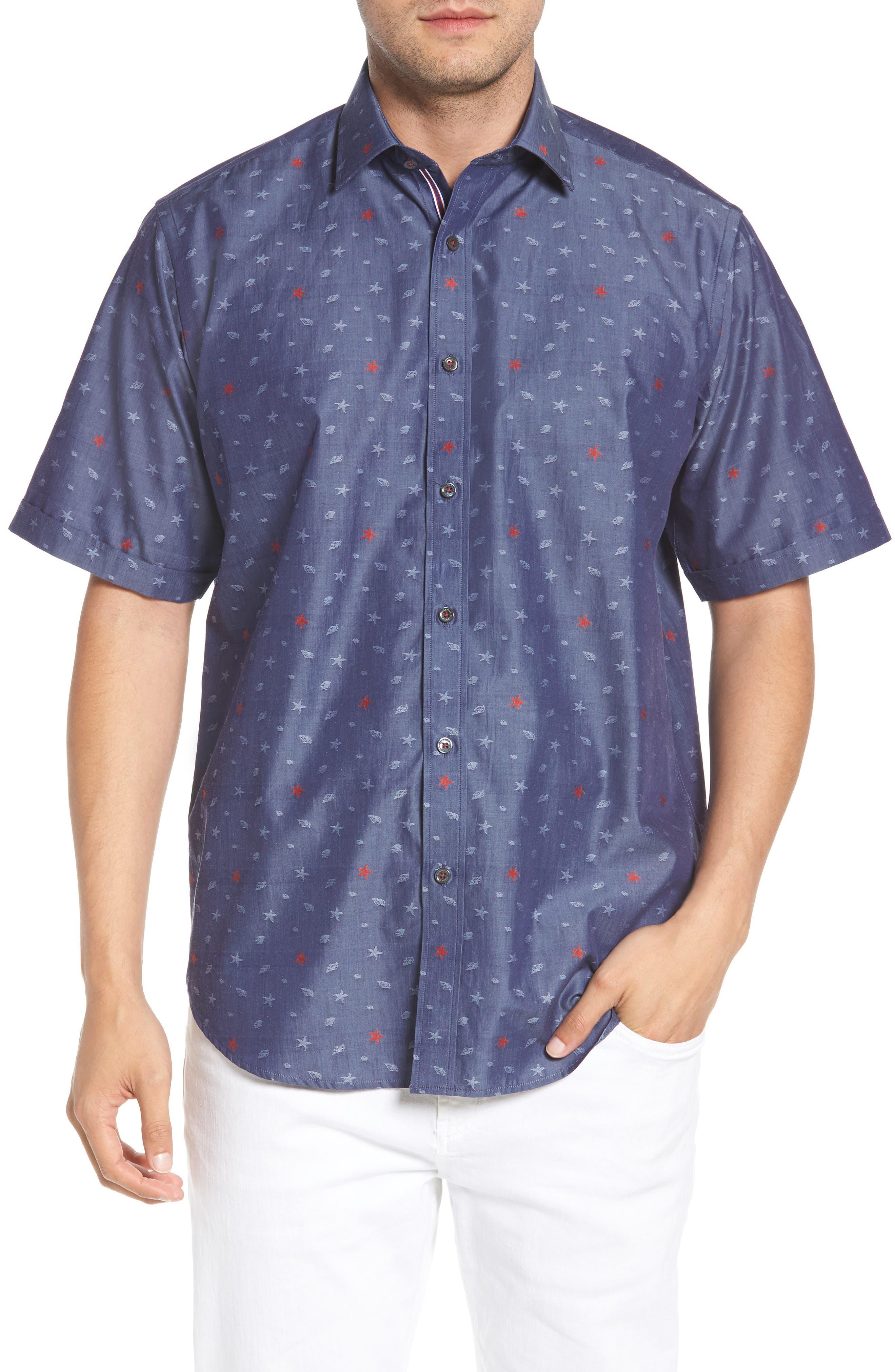 Classic Fit Sea Star Print Sport Shirt,                         Main,                         color, INDIGO