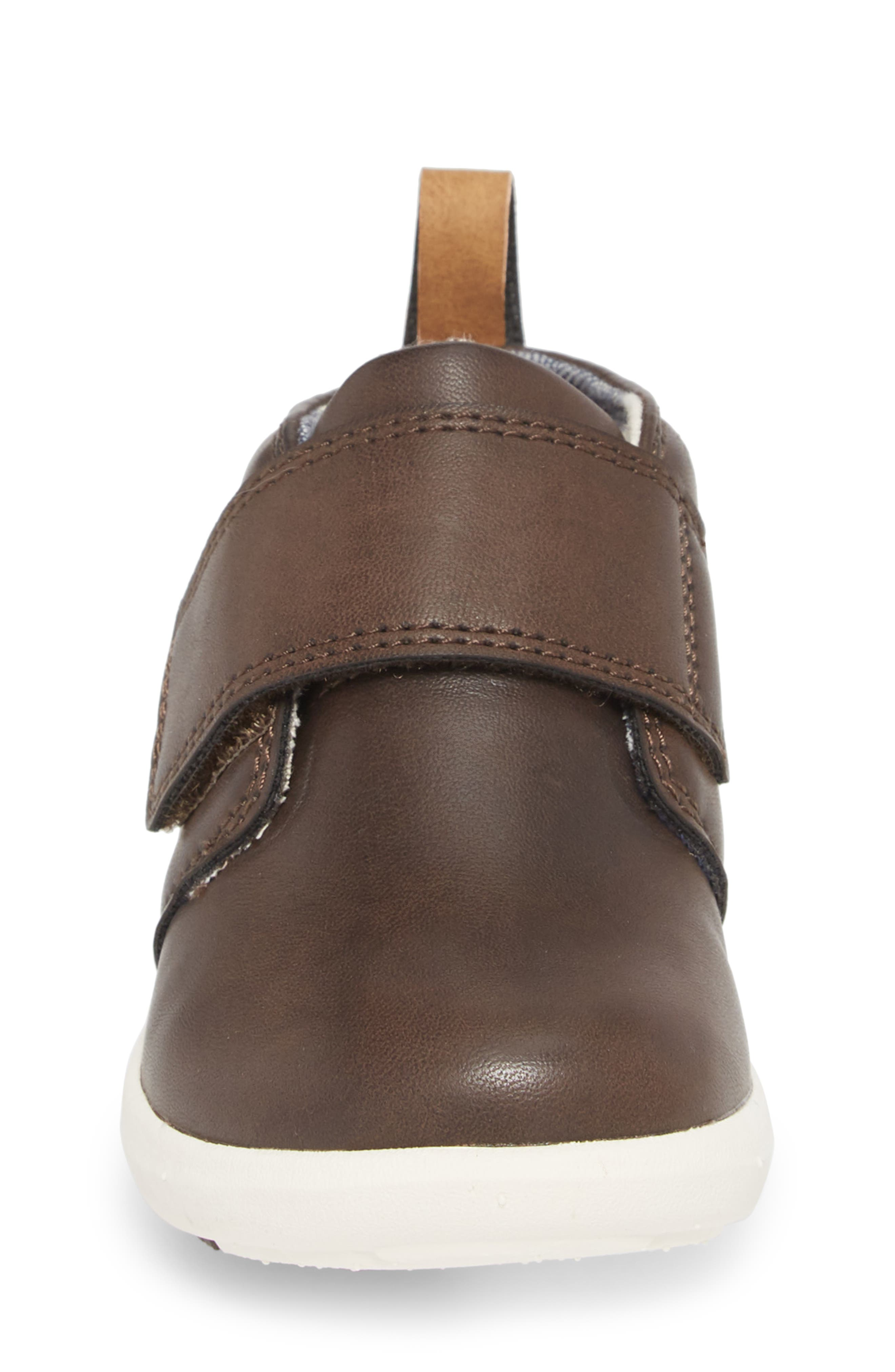 Oliver Low Bootie Sneaker,                             Alternate thumbnail 4, color,                             CHOCOLATE FAUX LEATHER