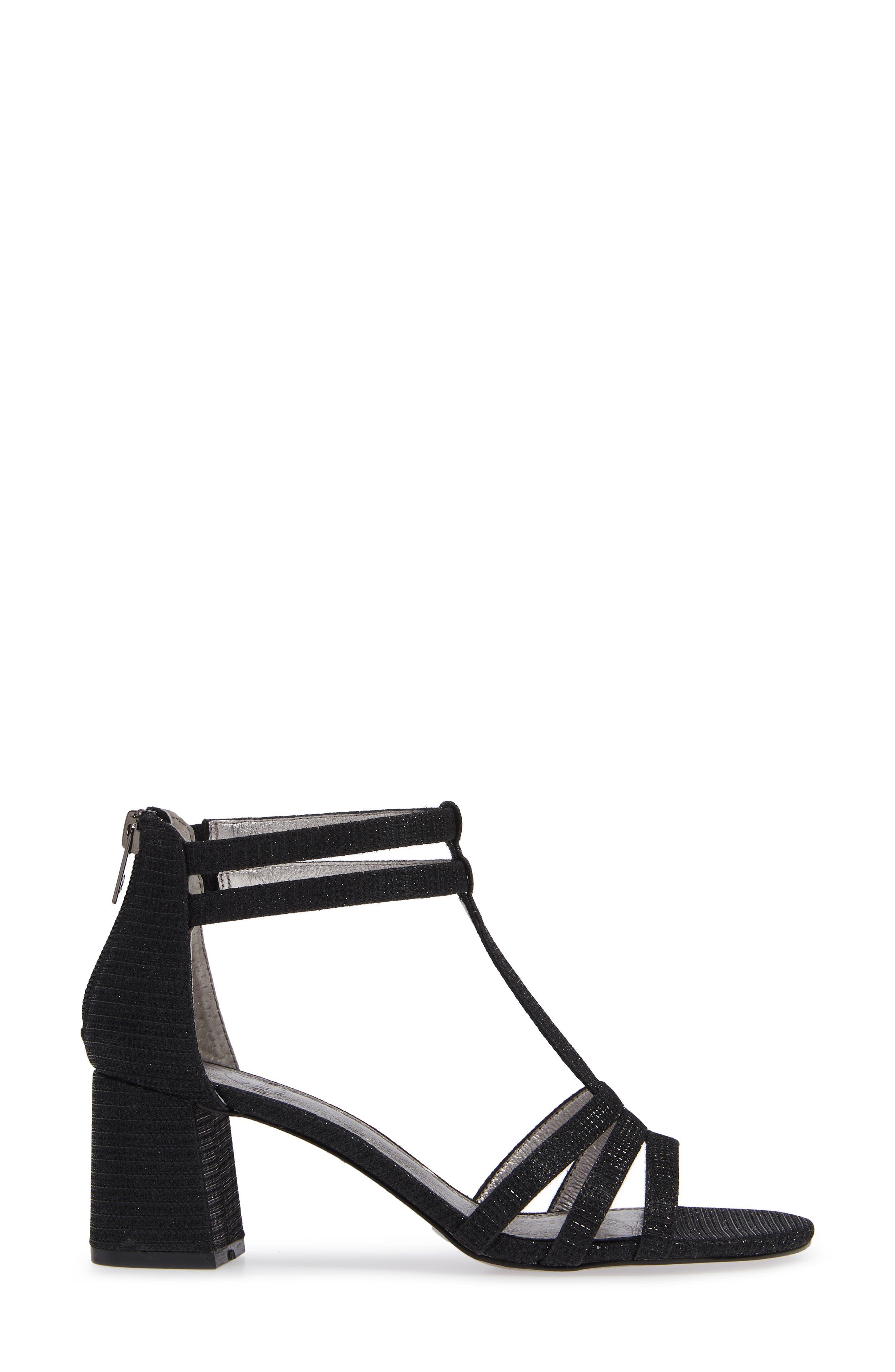 Anella Block Heel Sandal,                             Alternate thumbnail 3, color,                             BLACK GLITTER