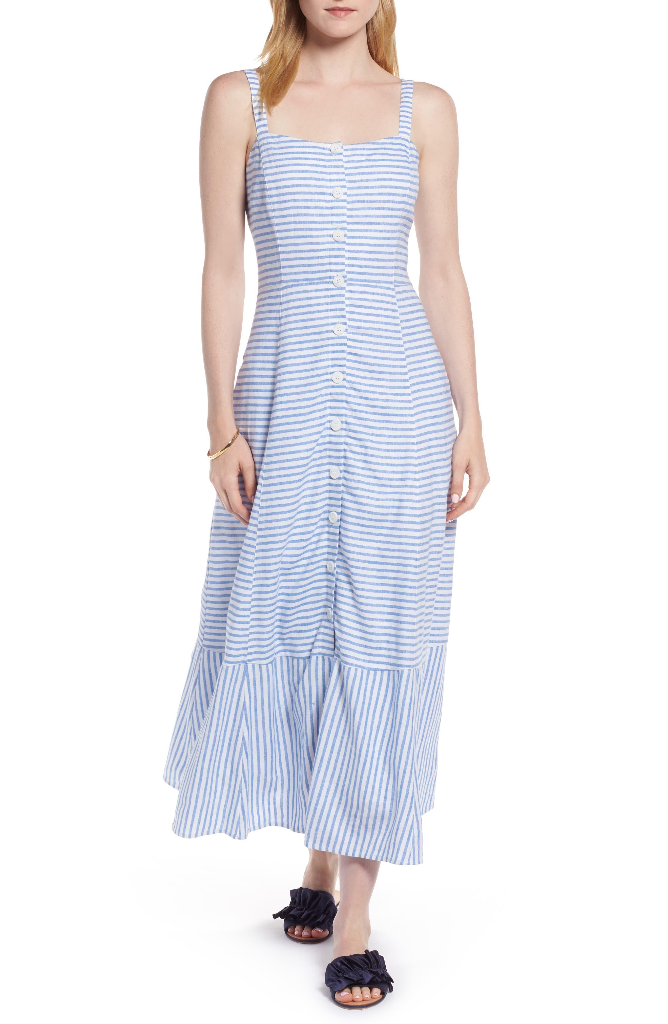 Button Front Stripe Linen Blend Dress,                         Main,                         color,