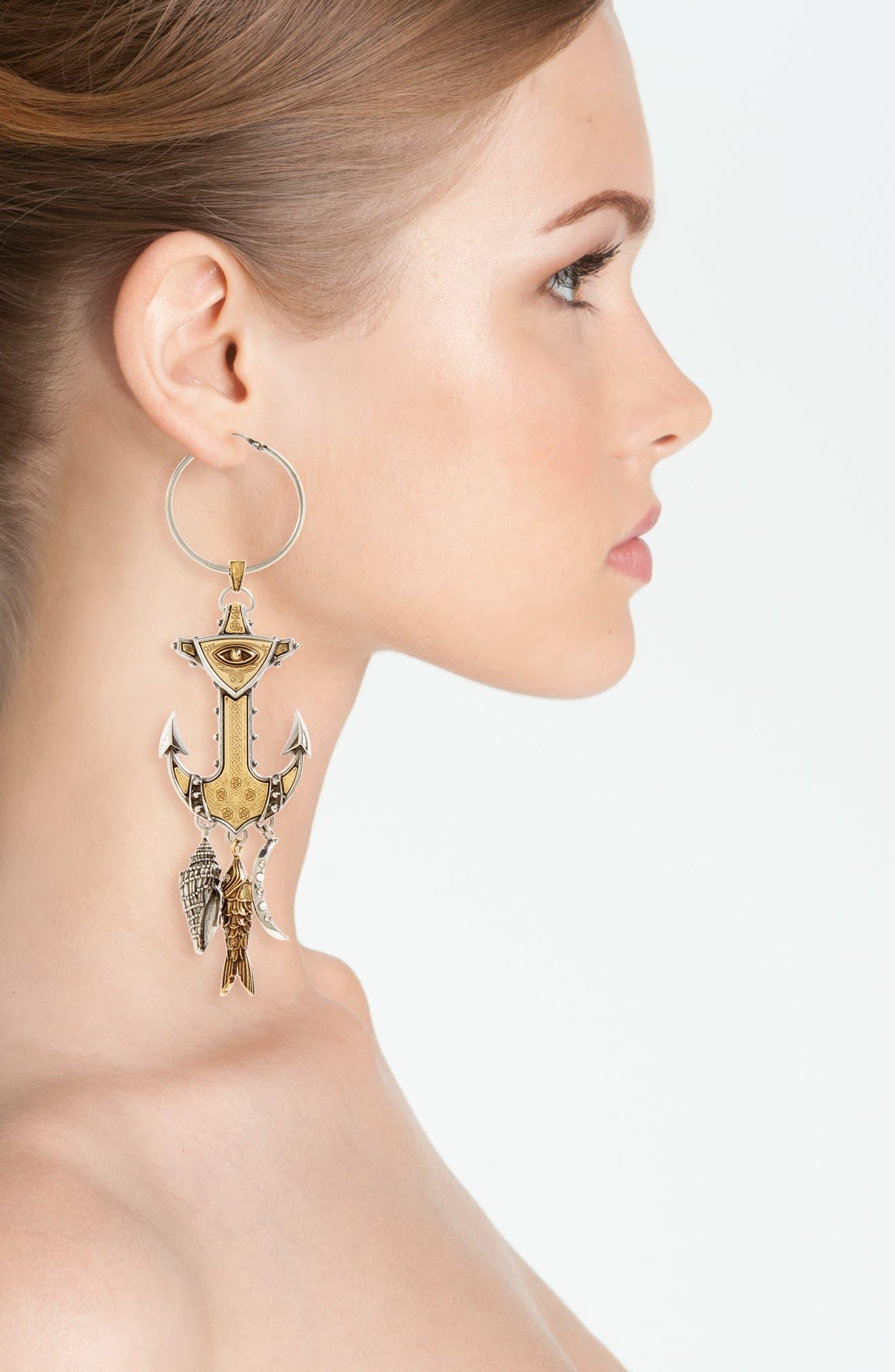 Anchor Linear Earrings,                             Alternate thumbnail 2, color,                             040