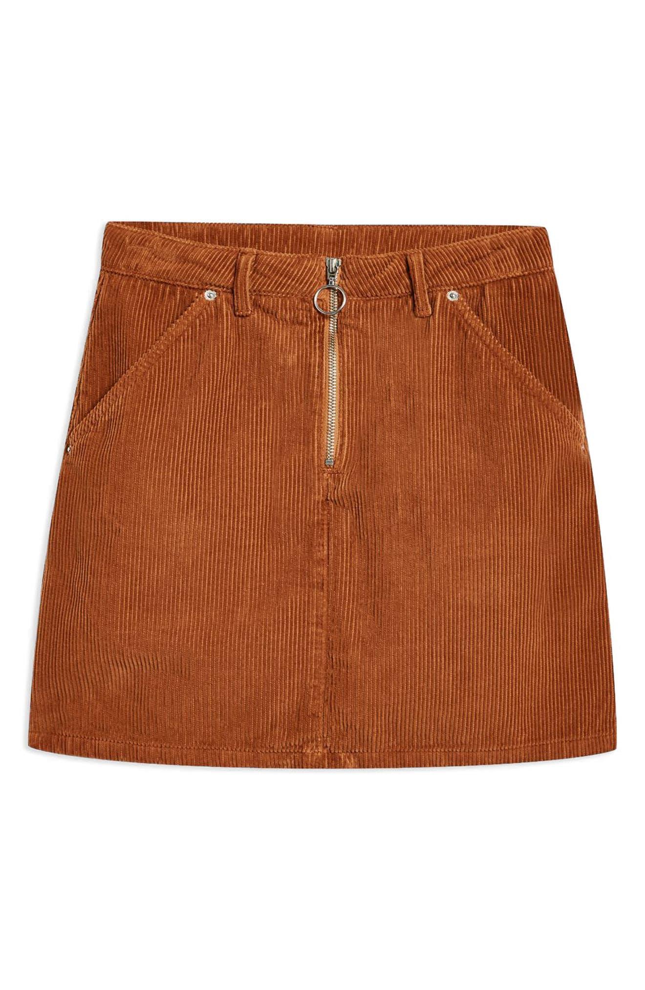 Cord Miniskirt,                             Alternate thumbnail 6, color,                             TOBACCO