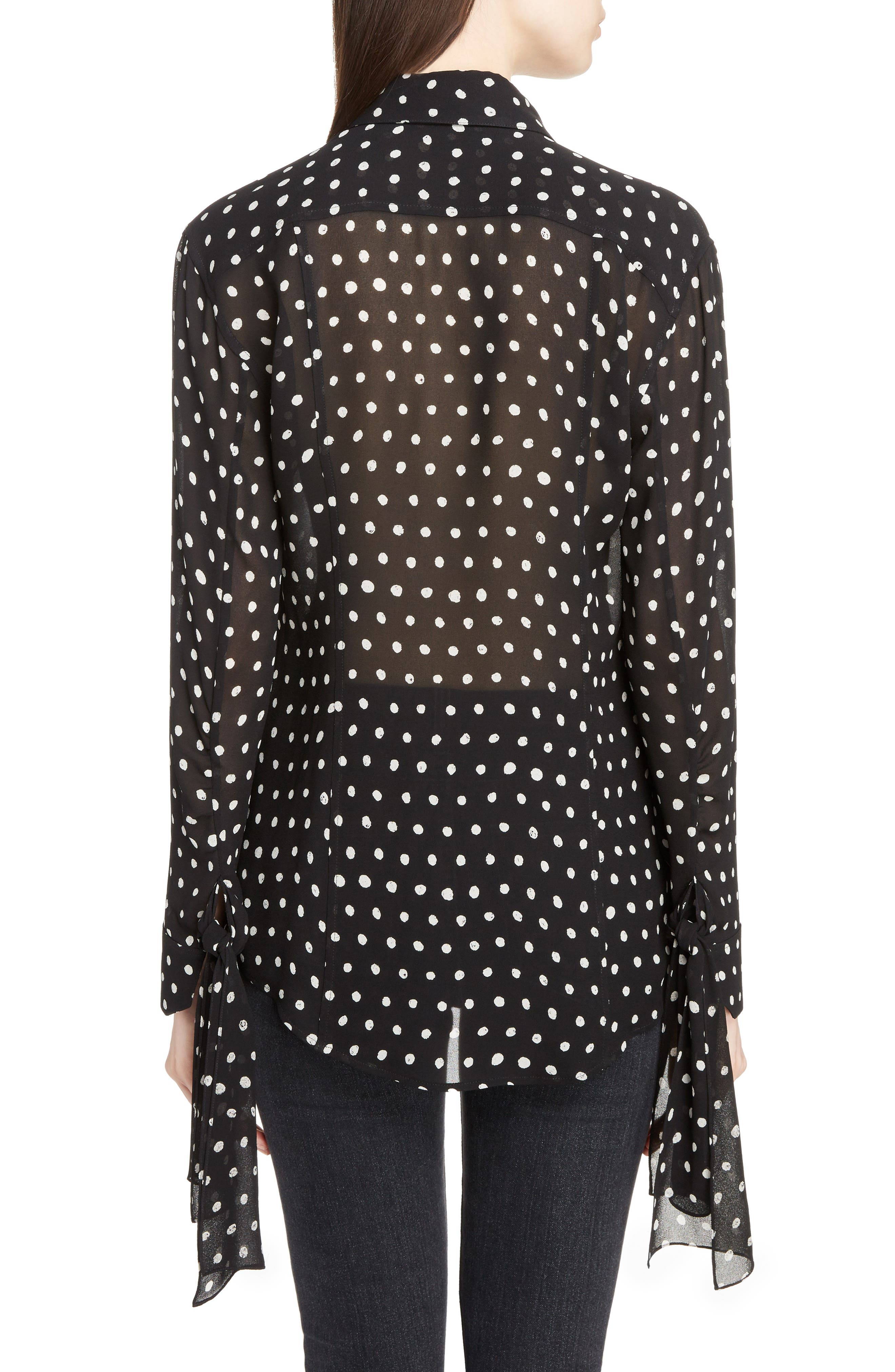 Tie Cuff Polka Dot Blouse,                             Alternate thumbnail 2, color,                             007