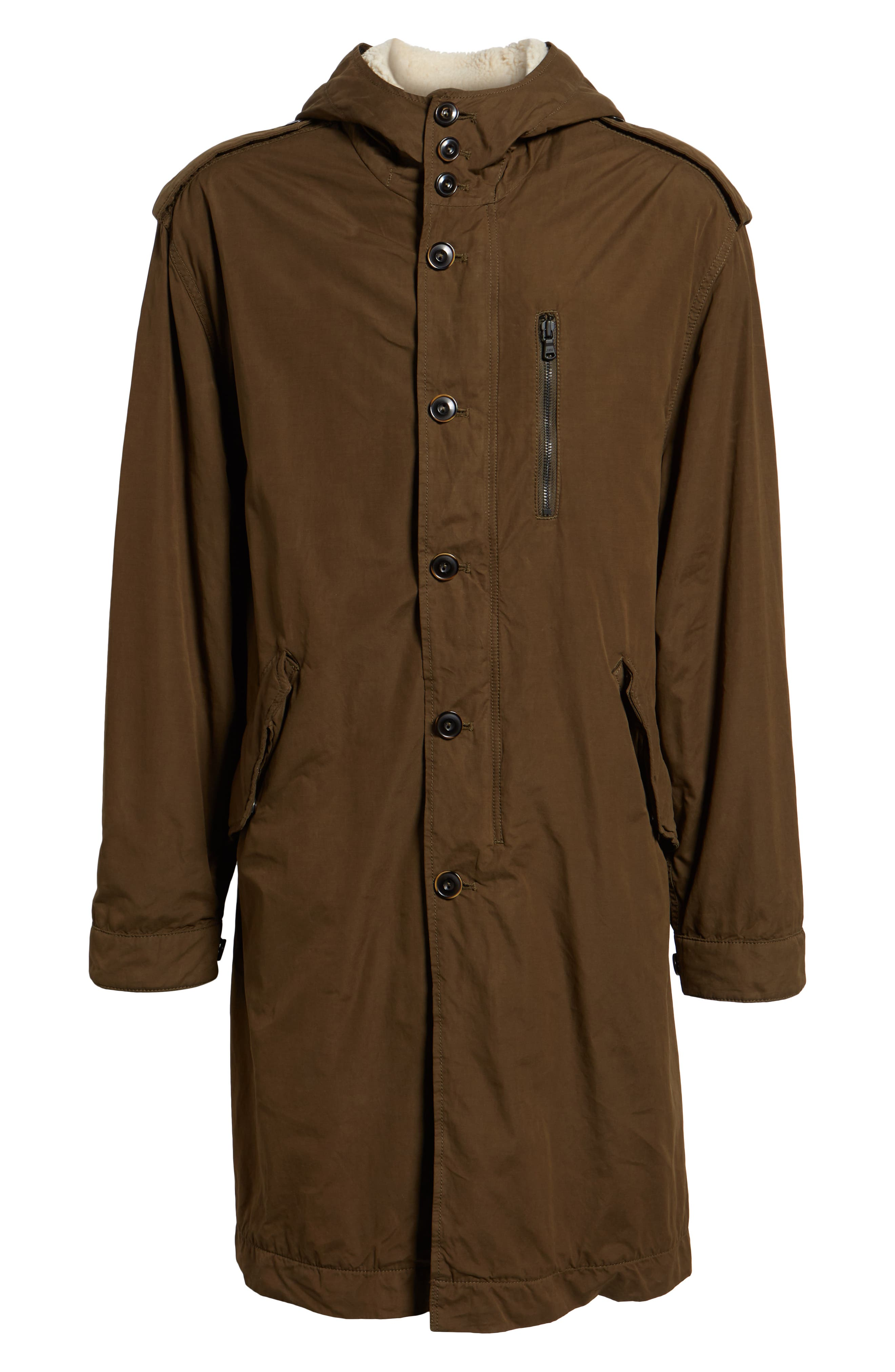 Removable Faux Shearling Anorak,                             Alternate thumbnail 5, color,                             UMBER