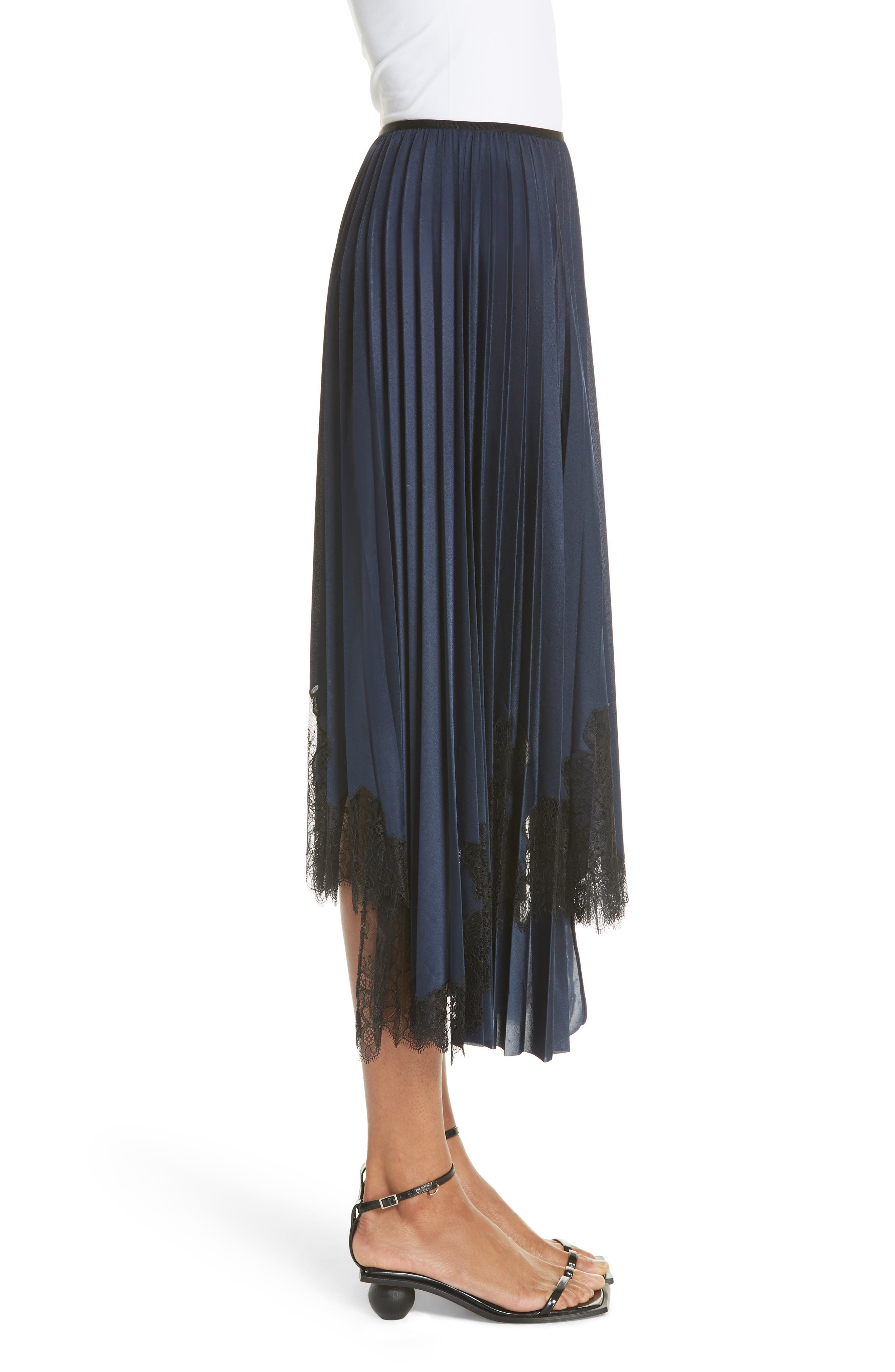 Pleated Lace Inset Skirt,                             Alternate thumbnail 3, color,                             BLUE