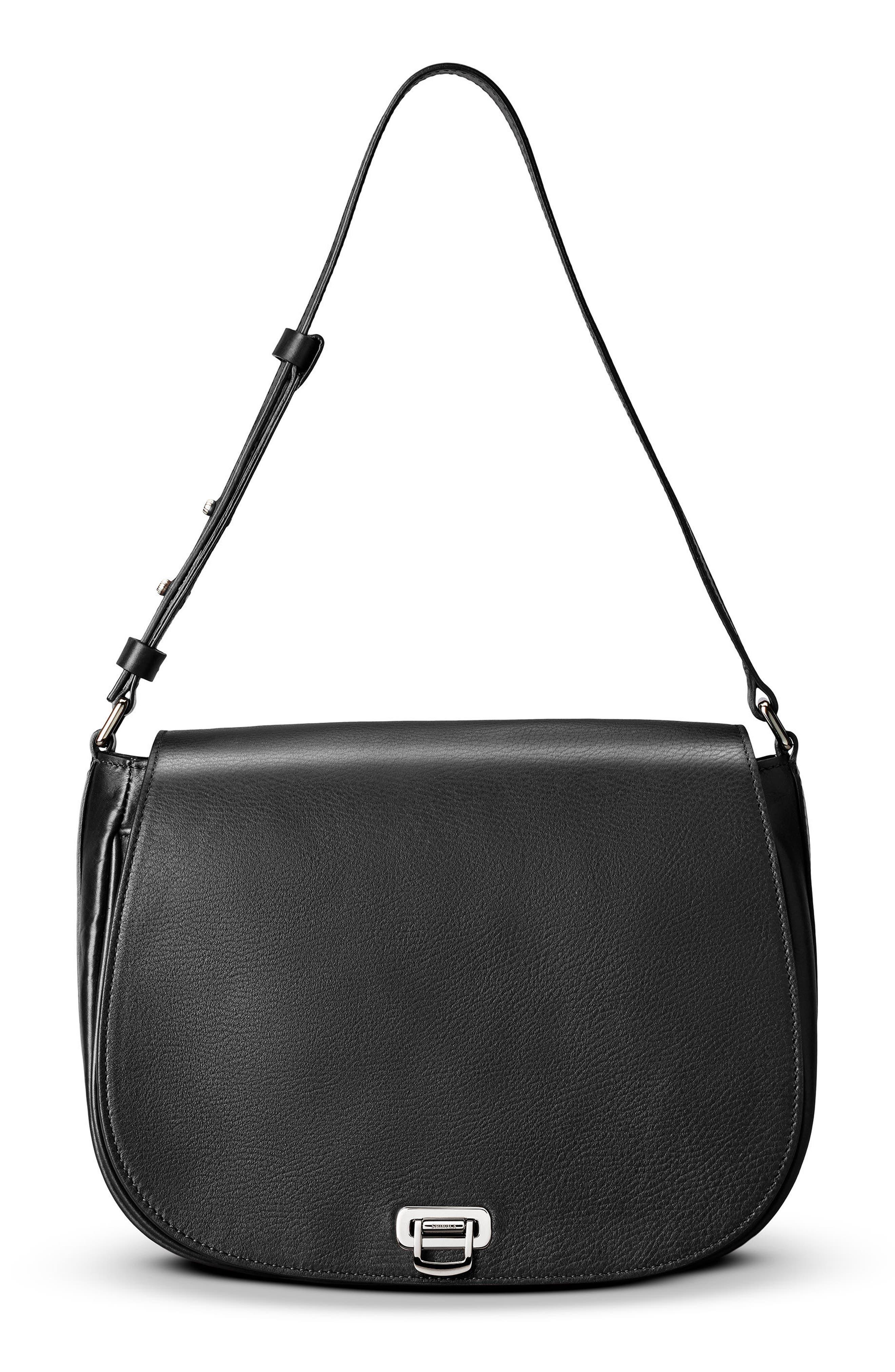 Calfskin Leather Shoulder Bag,                             Alternate thumbnail 10, color,                             001