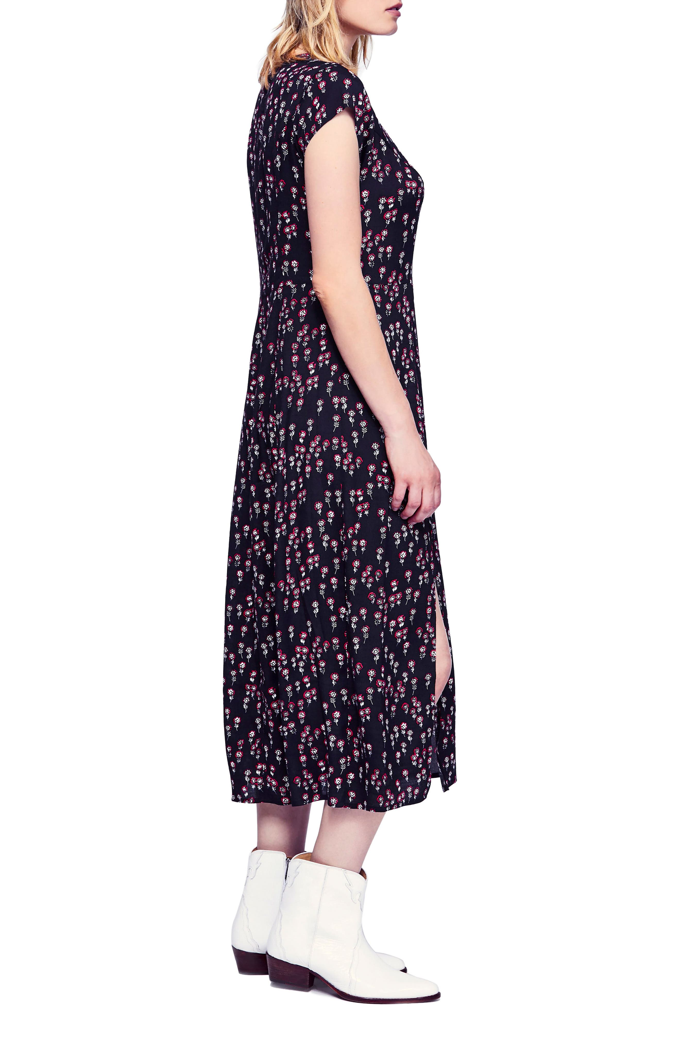 FREE PEOPLE,                             Corrie Midi Dress,                             Alternate thumbnail 3, color,                             BLACK