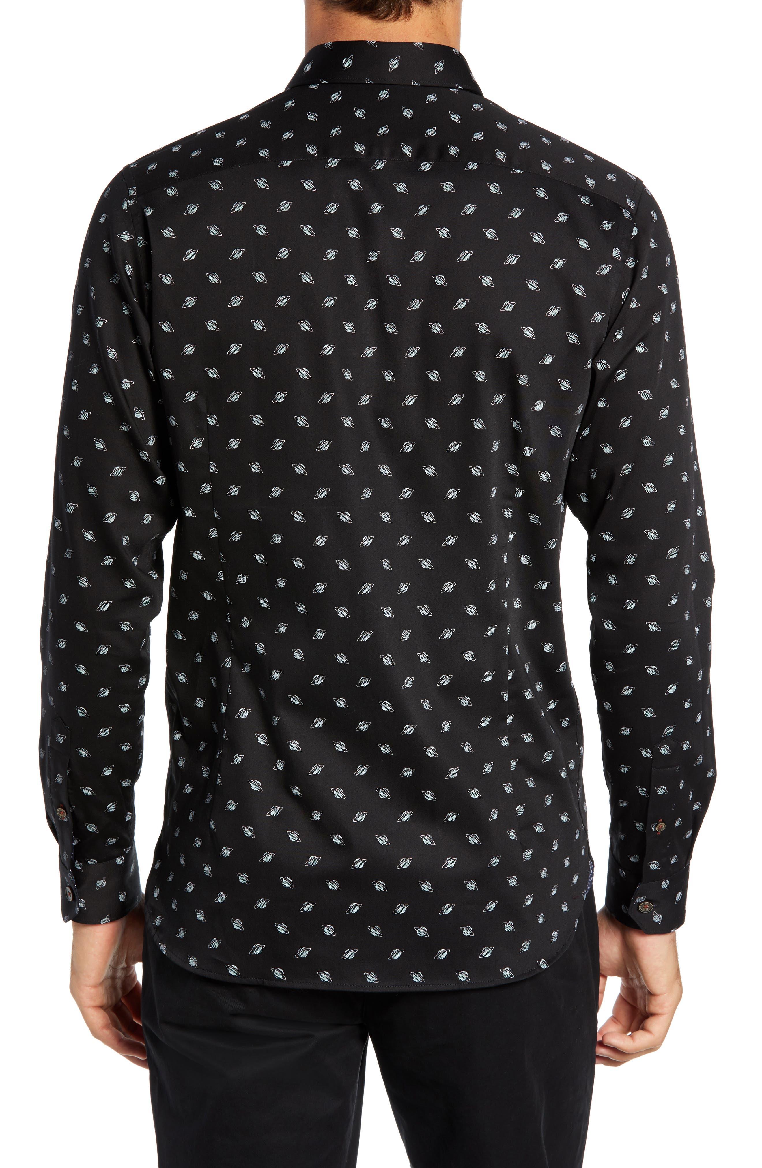 Greenpa Slim Fit Print Sport Shirt,                             Alternate thumbnail 3, color,                             BLACK