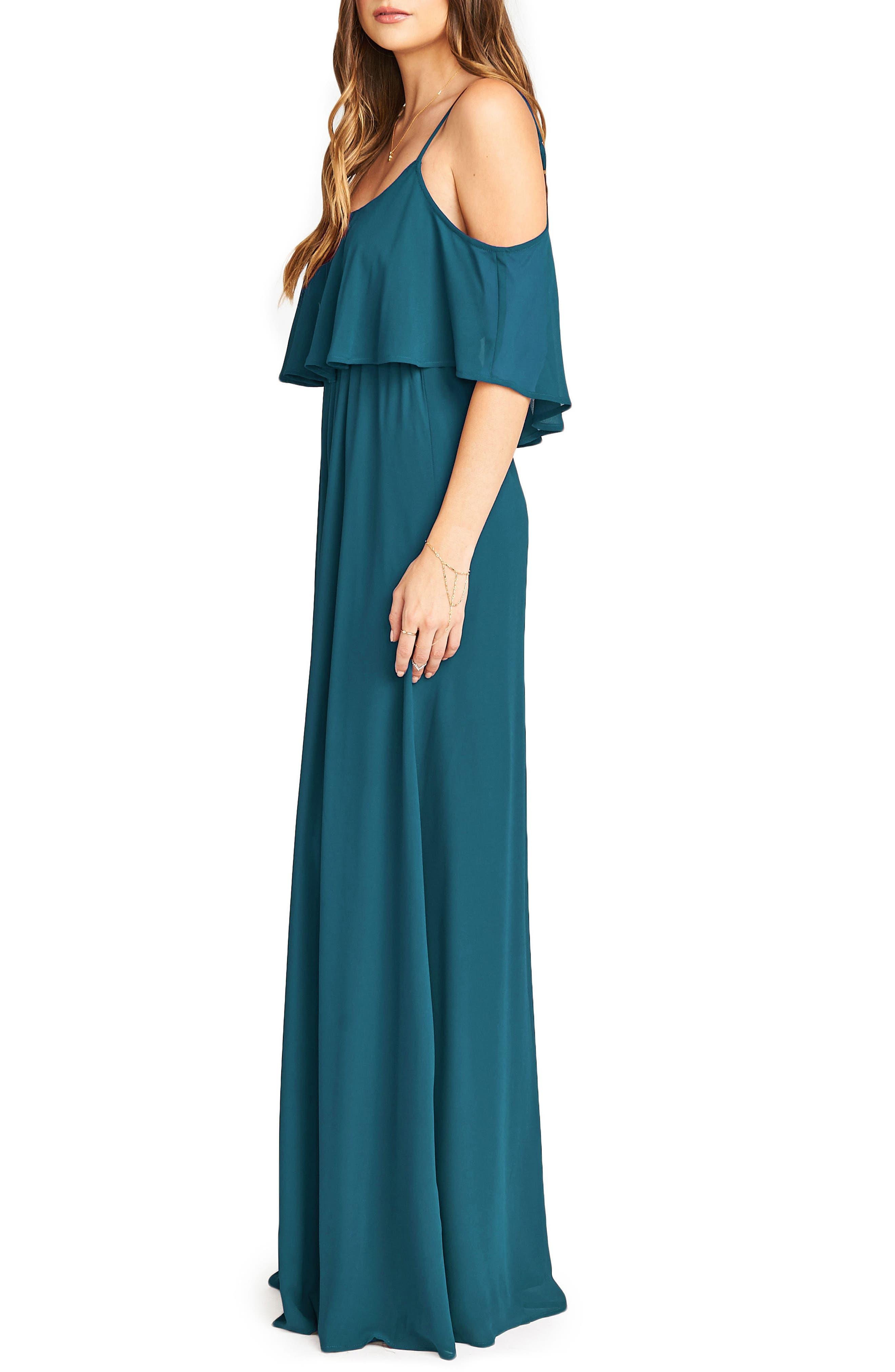 Caitlin Cold Shoulder Chiffon Gown,                             Alternate thumbnail 39, color,