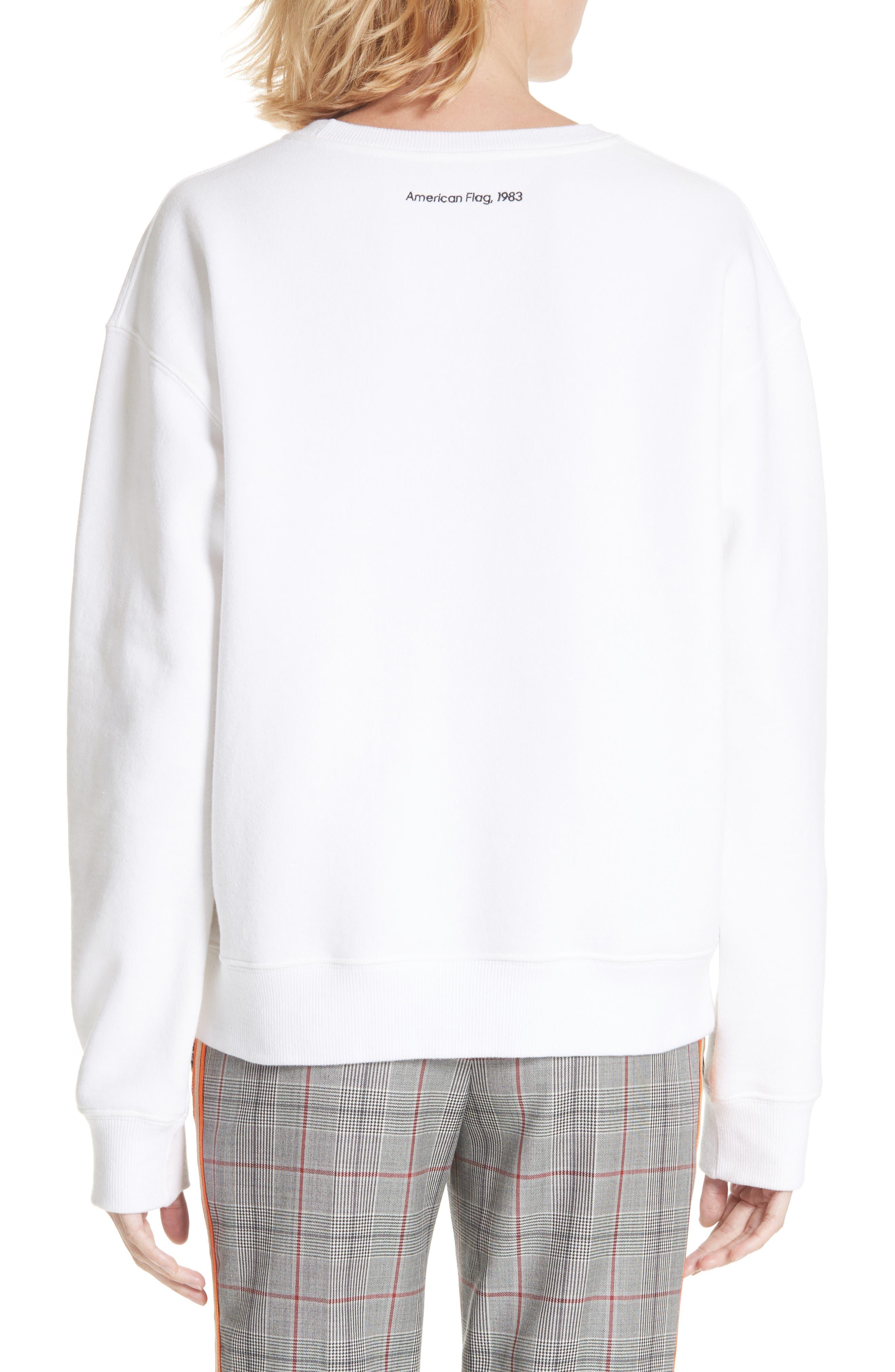 x Andy Warhol Foundation American Flag Graphic Sweatshirt,                             Alternate thumbnail 2, color,                             WHITE BLACK