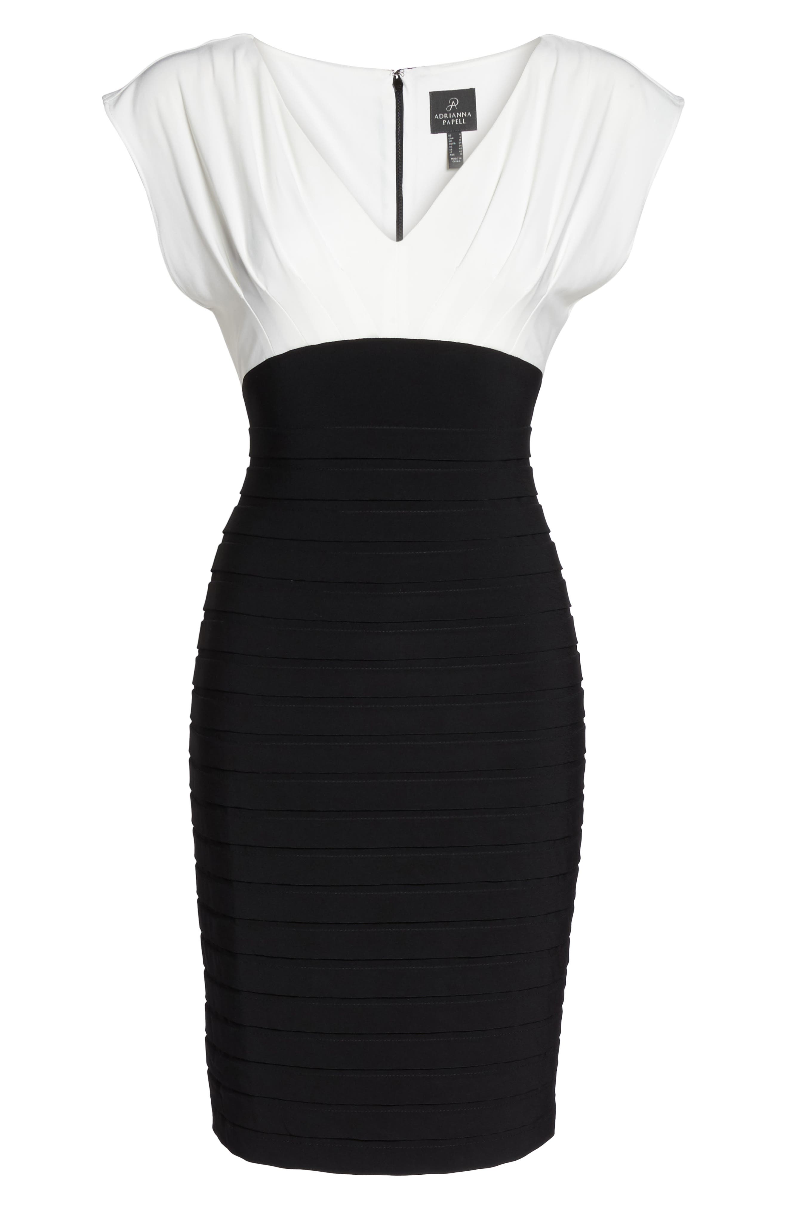 Shutter Pleated Sheath Dress,                             Alternate thumbnail 6, color,                             010
