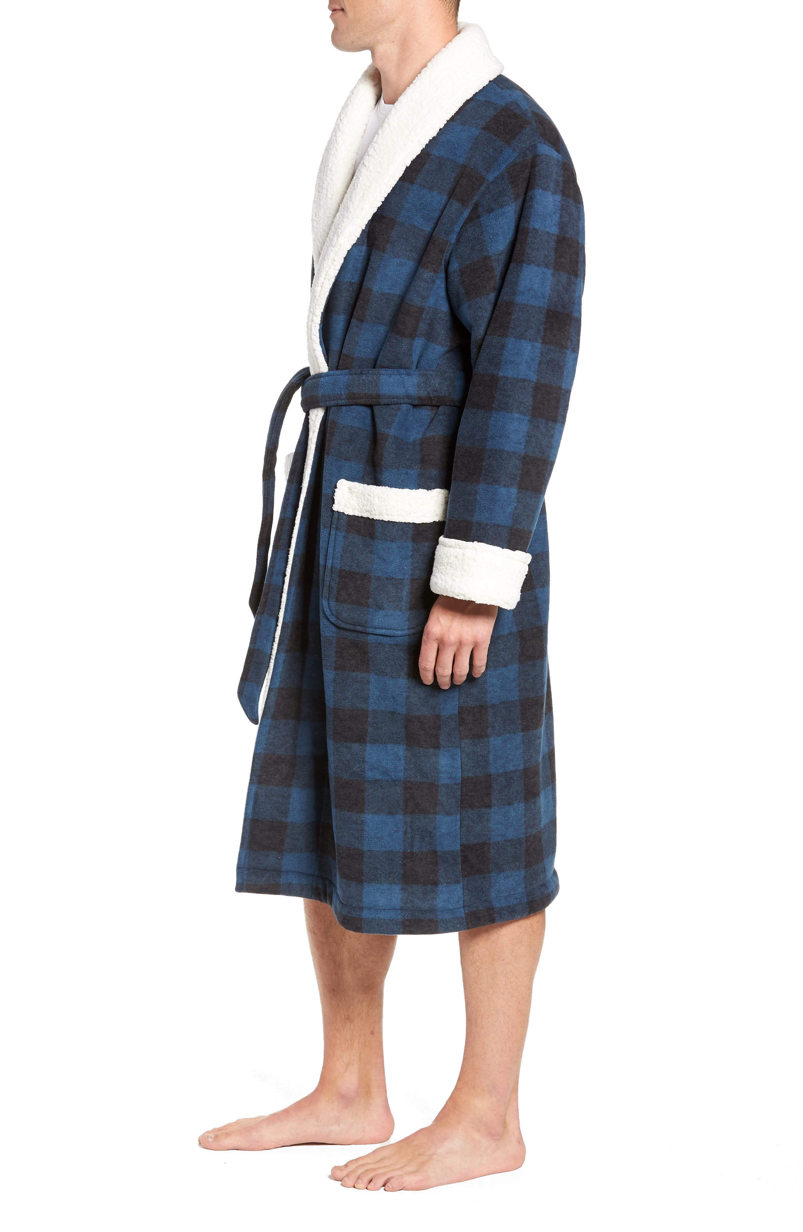 Plaid Fleece Robe with Faux Shearling Lining,                             Alternate thumbnail 3, color,                             410