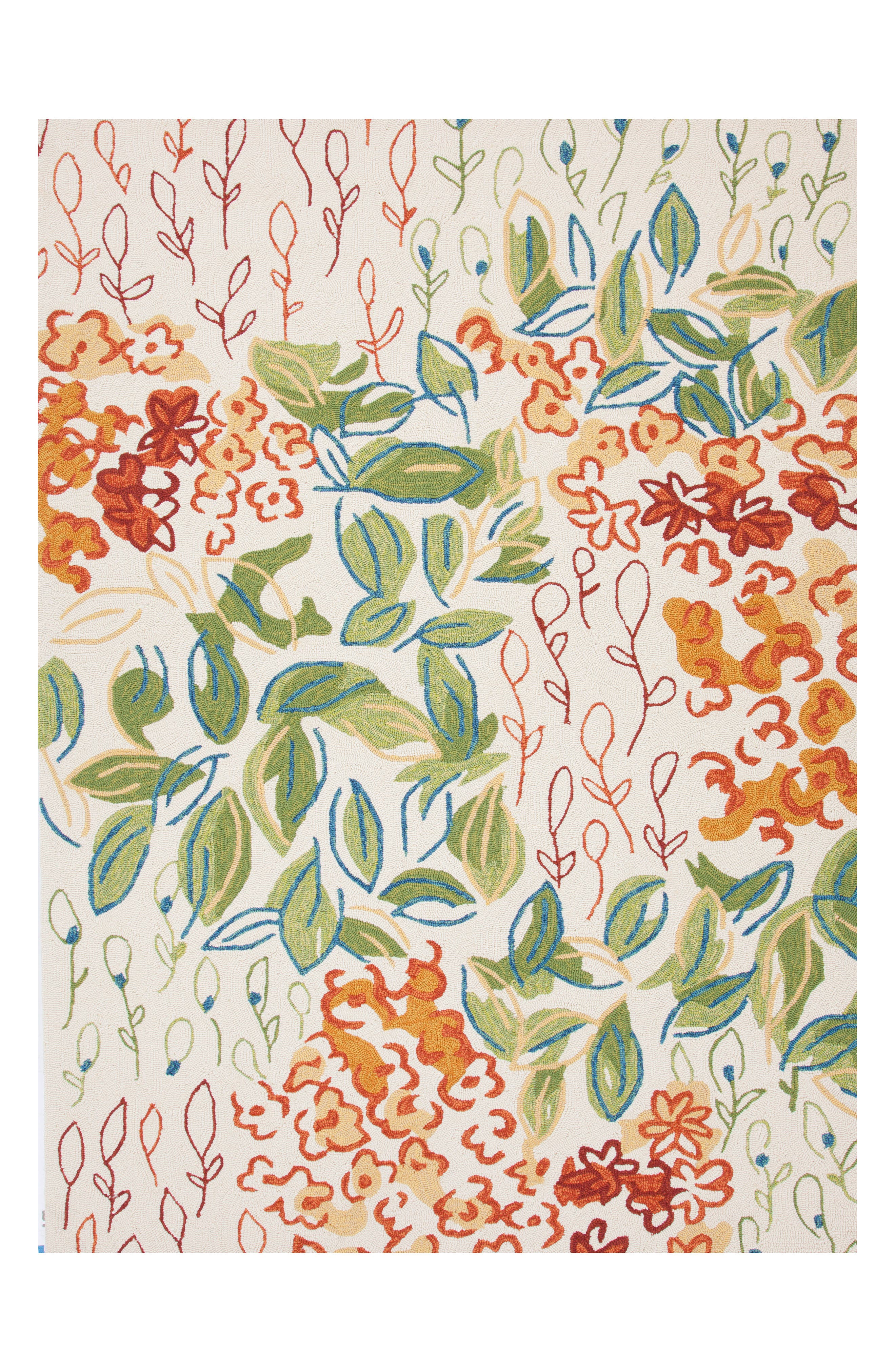 Garden Indoor/Outdoor Rug,                         Main,                         color, GREEN/ IVORY