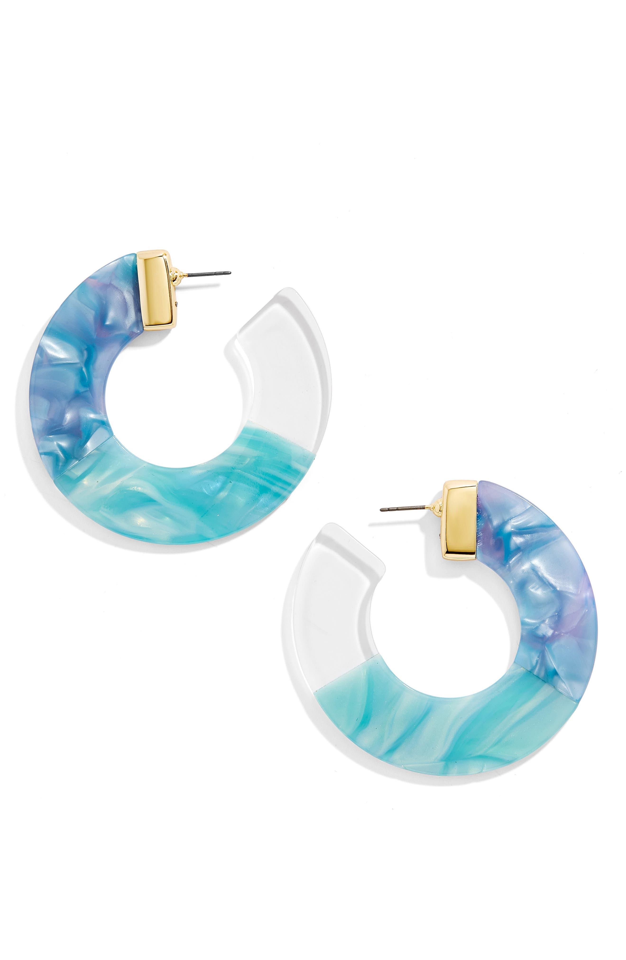 Dessa Hoop Earrings,                             Main thumbnail 1, color,                             BLUE/ WHITE