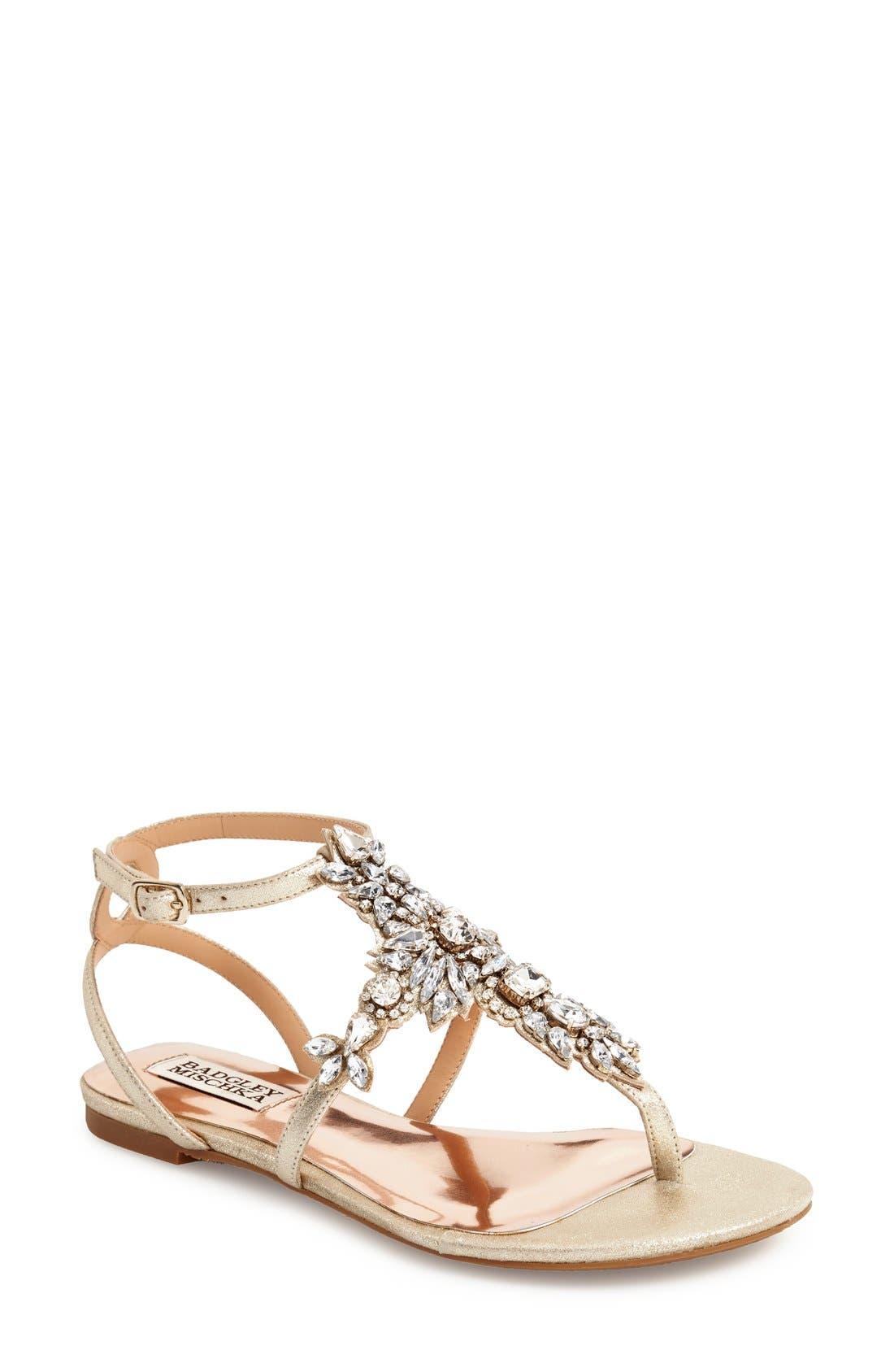 Badgley Mischka 'Cara' Crystal Embellished Flat Sandal,                             Main thumbnail 1, color,                             710
