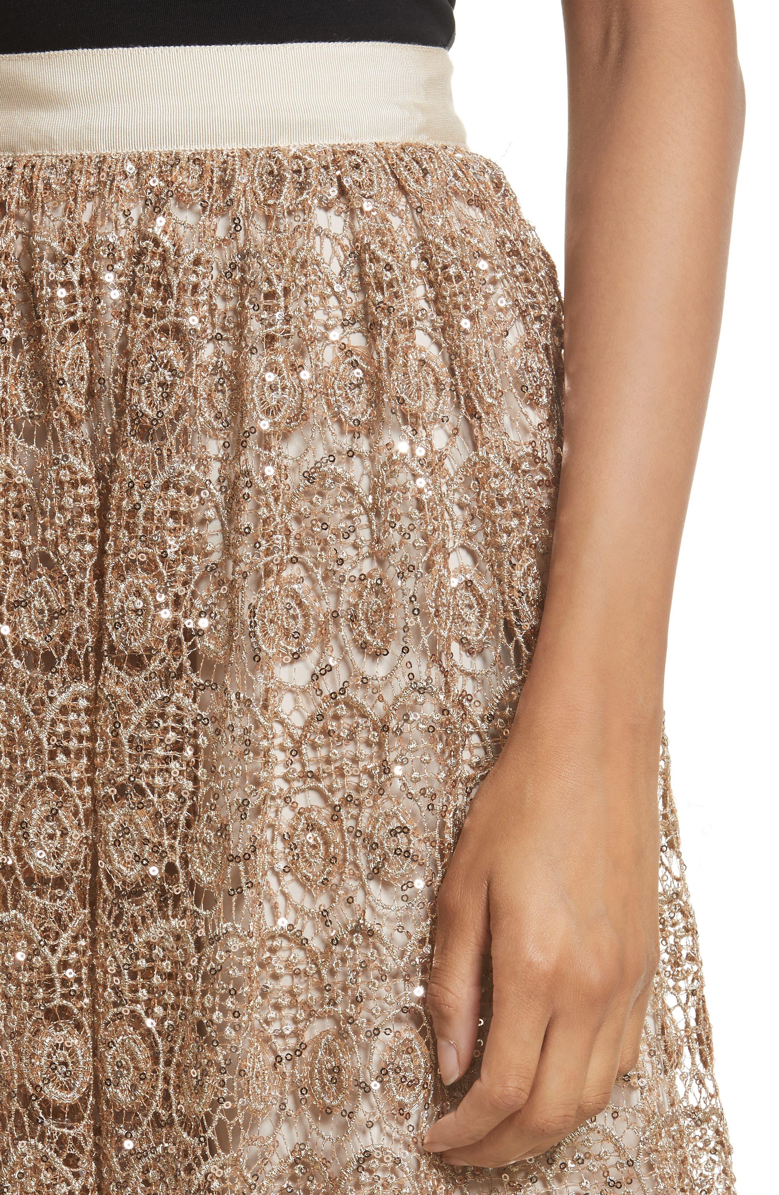 Metallic Lace Skirt,                             Alternate thumbnail 4, color,