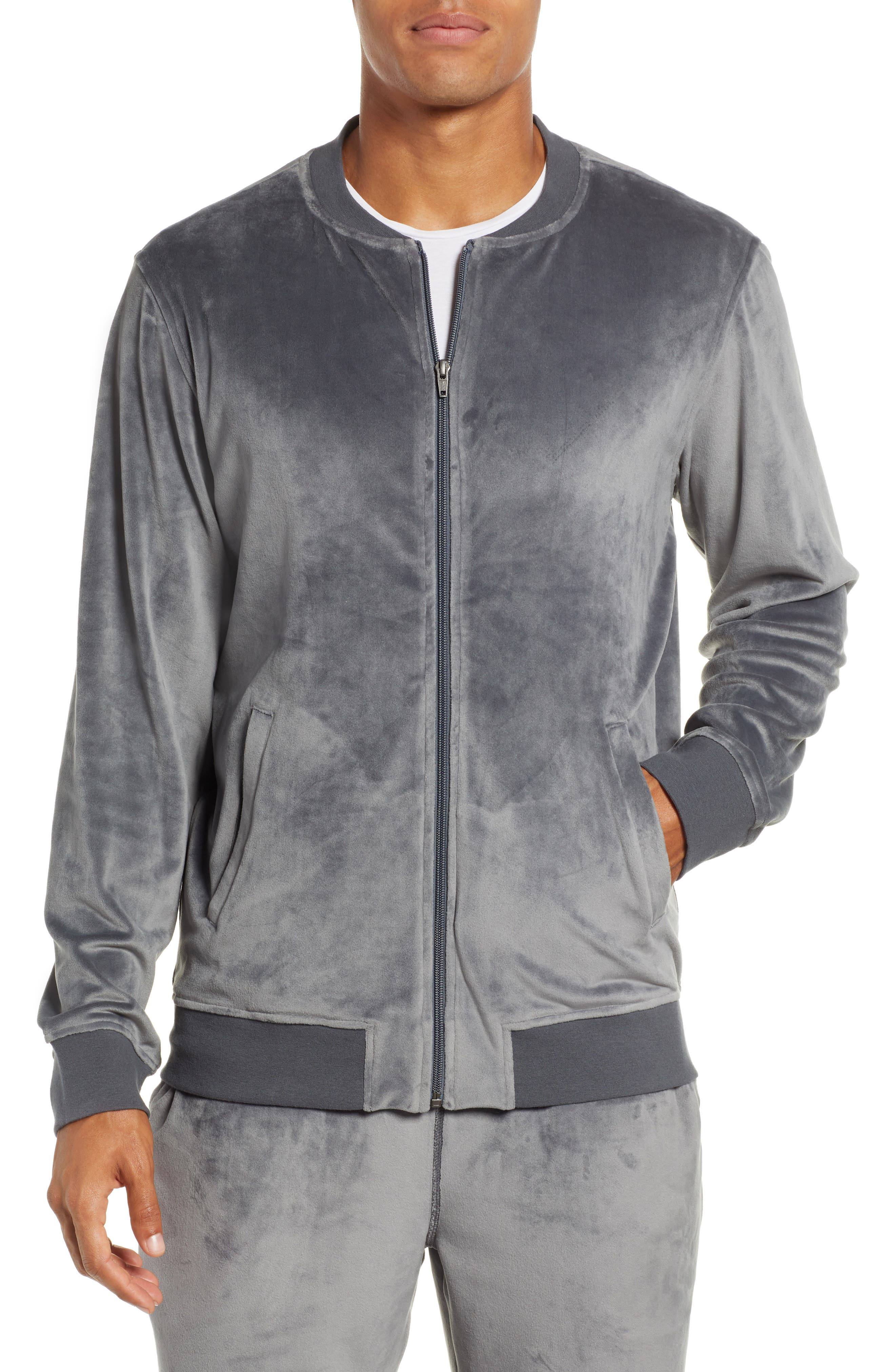 Velour Jacket,                         Main,                         color, GREY