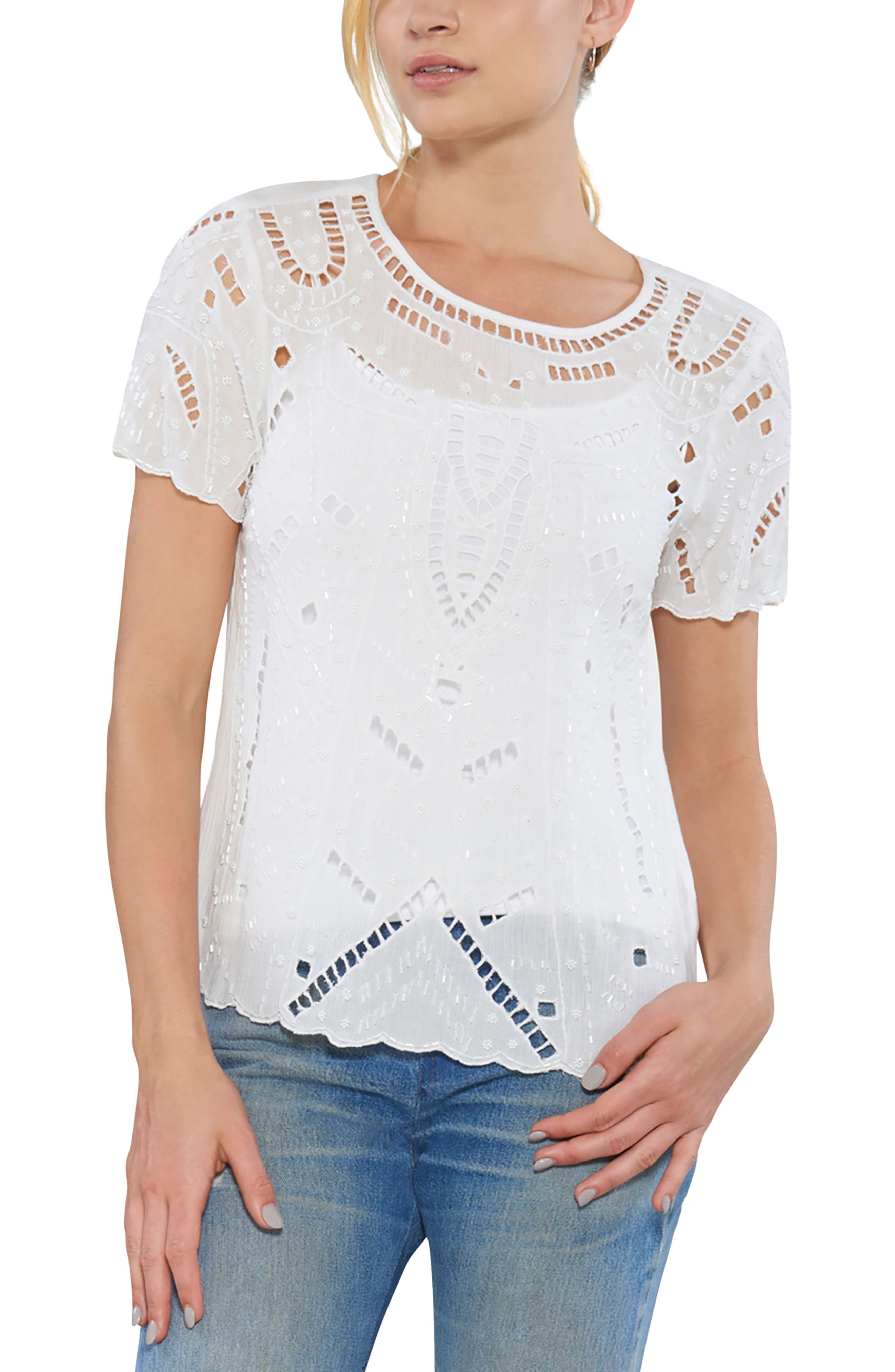 Embellished Cutout Tee,                         Main,                         color, 904
