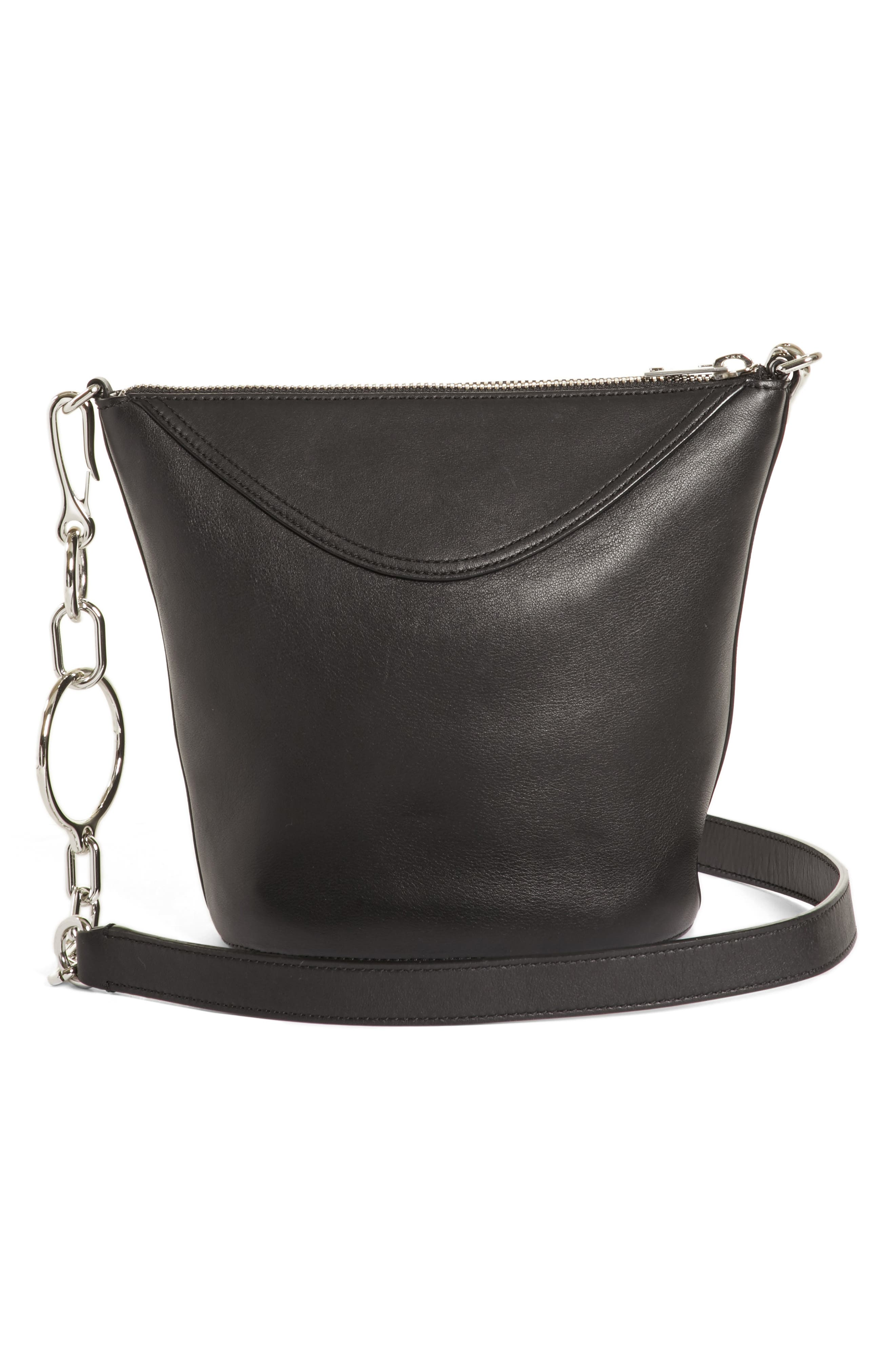 Ace Leather Bucket Bag,                             Alternate thumbnail 3, color,                             BLACK