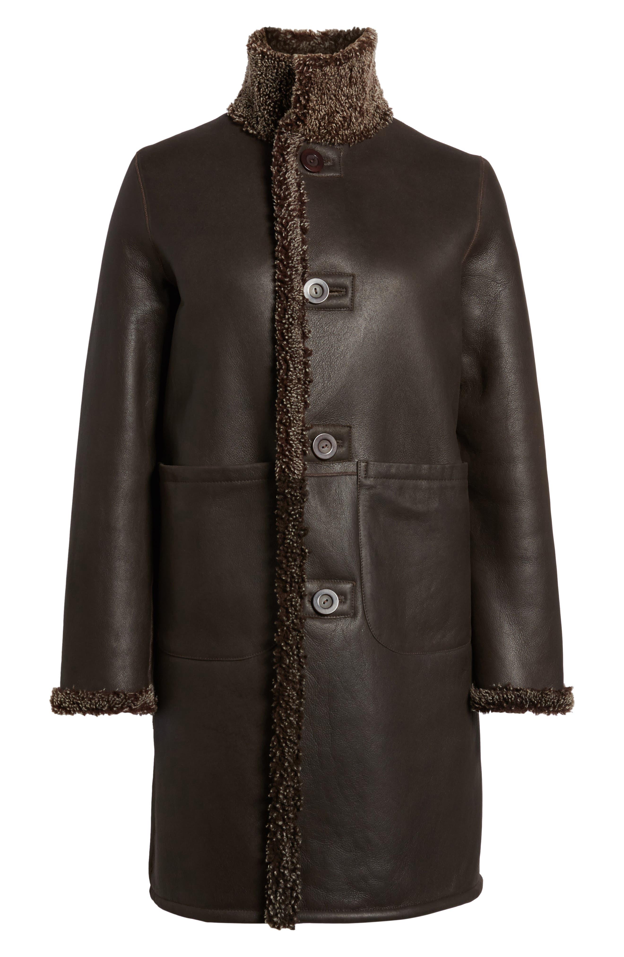 Reversible Genuine Shearling Coat,                             Alternate thumbnail 5, color,                             203