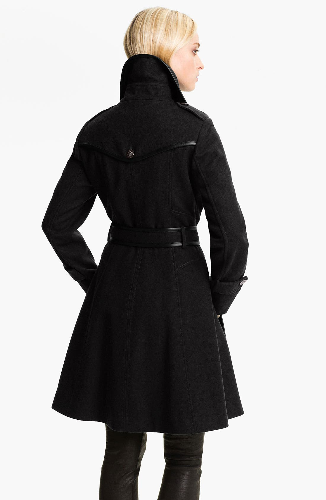 Double Breasted Wool Blend Coat,                             Alternate thumbnail 2, color,                             001