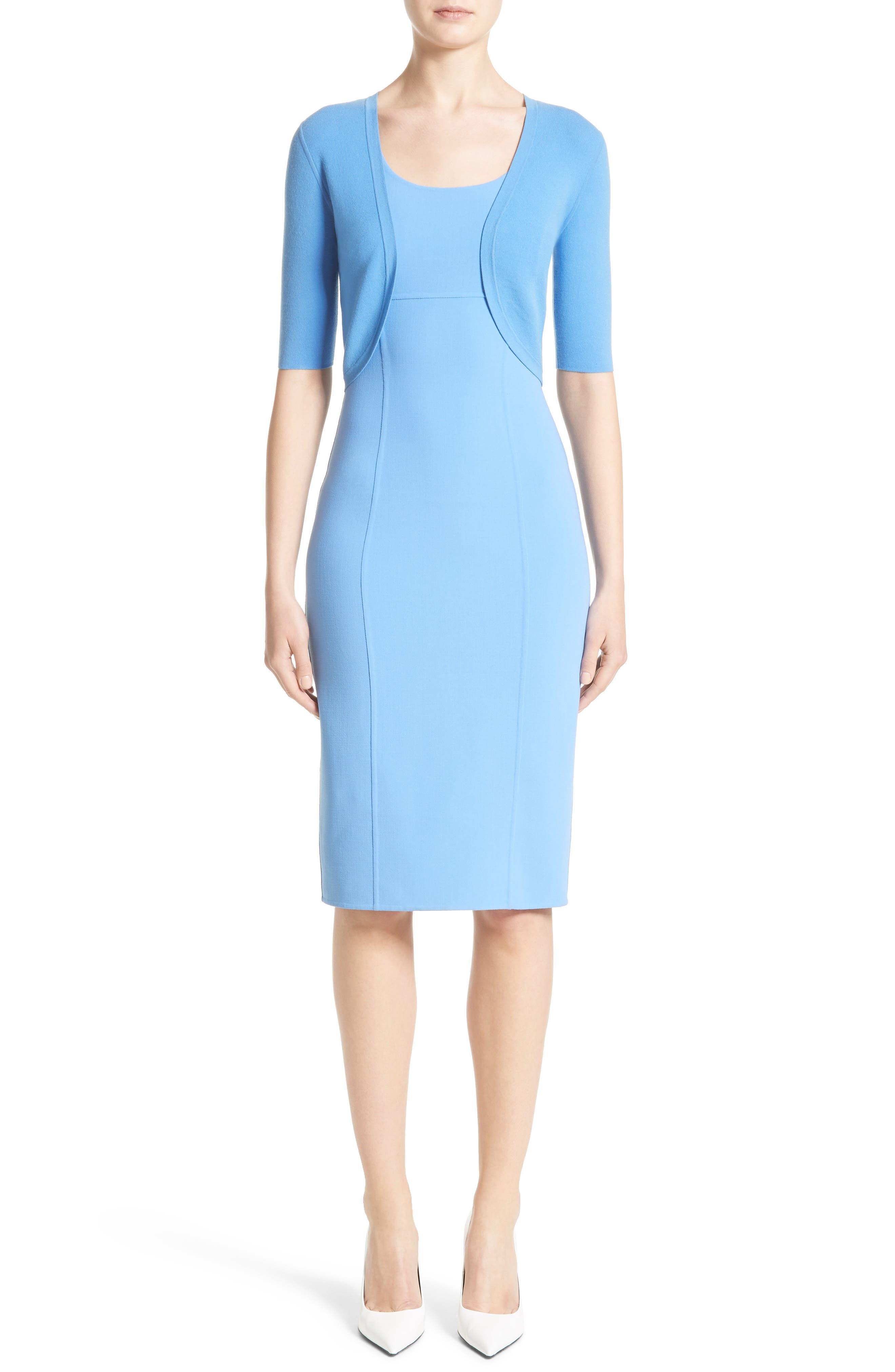 Stretch Wool Crepe Sheath Dress,                             Alternate thumbnail 7, color,                             495