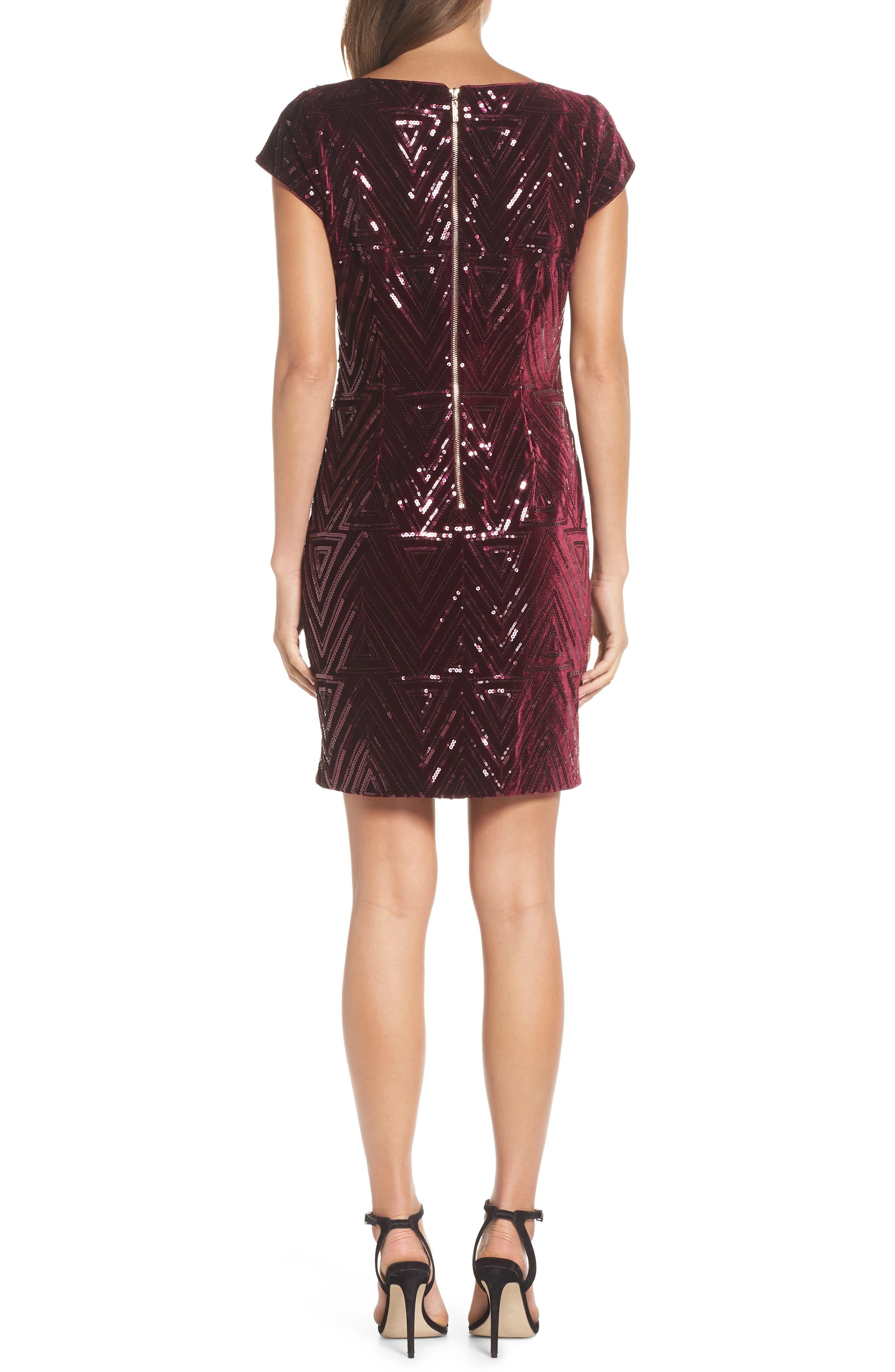 Sequin Sheath Dress,                             Alternate thumbnail 2, color,                             MAROON