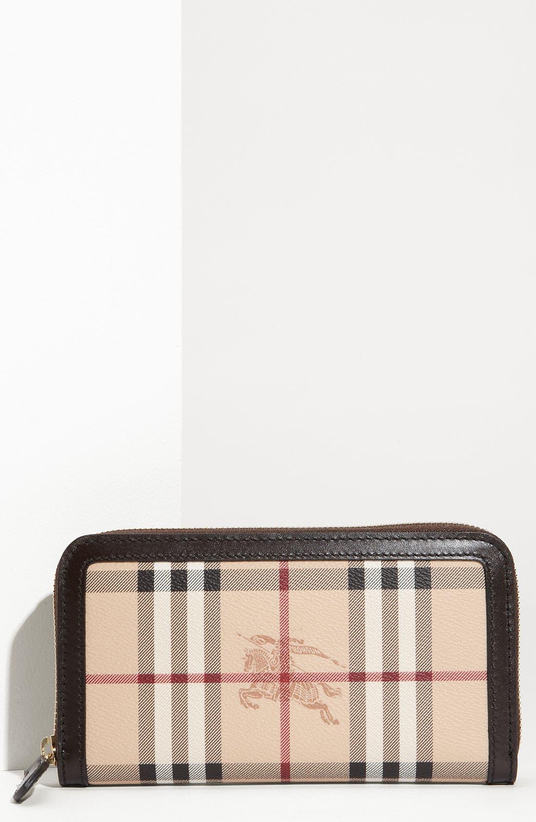 'Haymarket Check' Zip Around Wallet, Main, color, 200