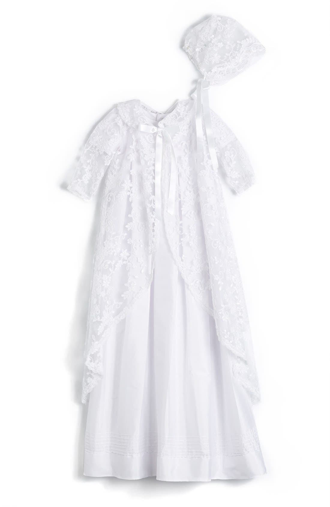'Renaissance' Christening Gown & Bonnet,                             Main thumbnail 1, color,                             WHITE