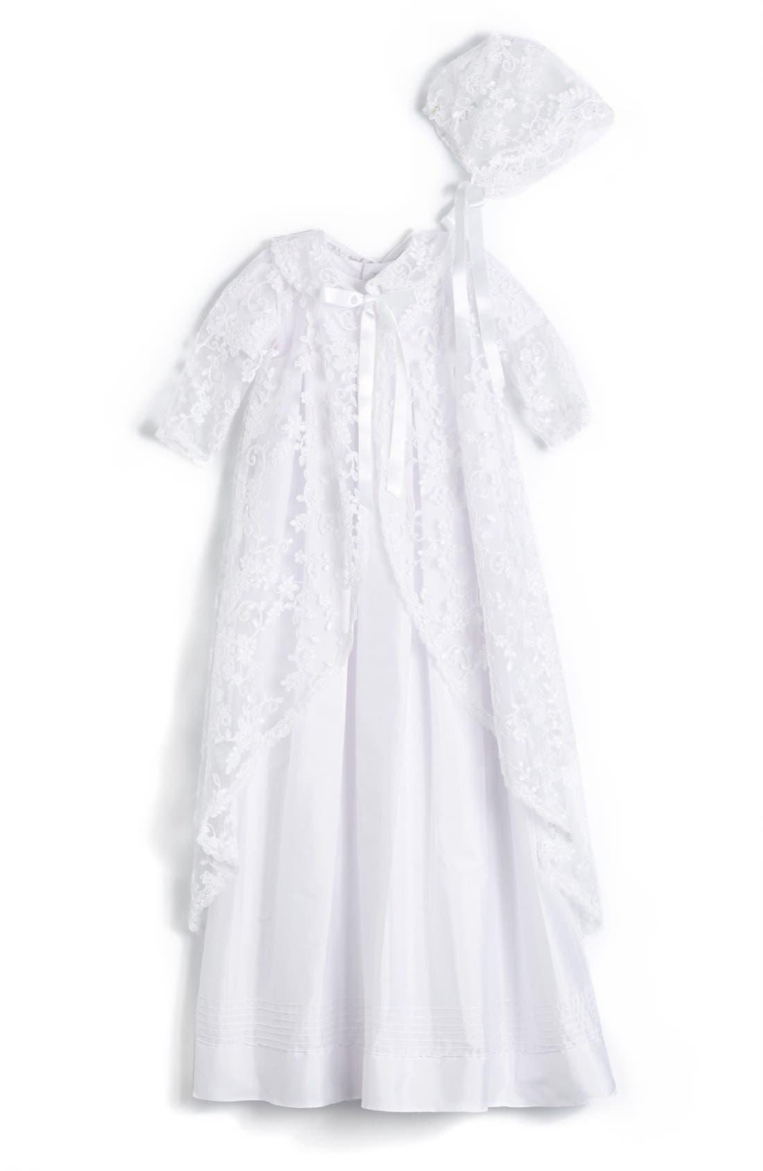 'Renaissance' Christening Gown & Bonnet,                         Main,                         color, WHITE