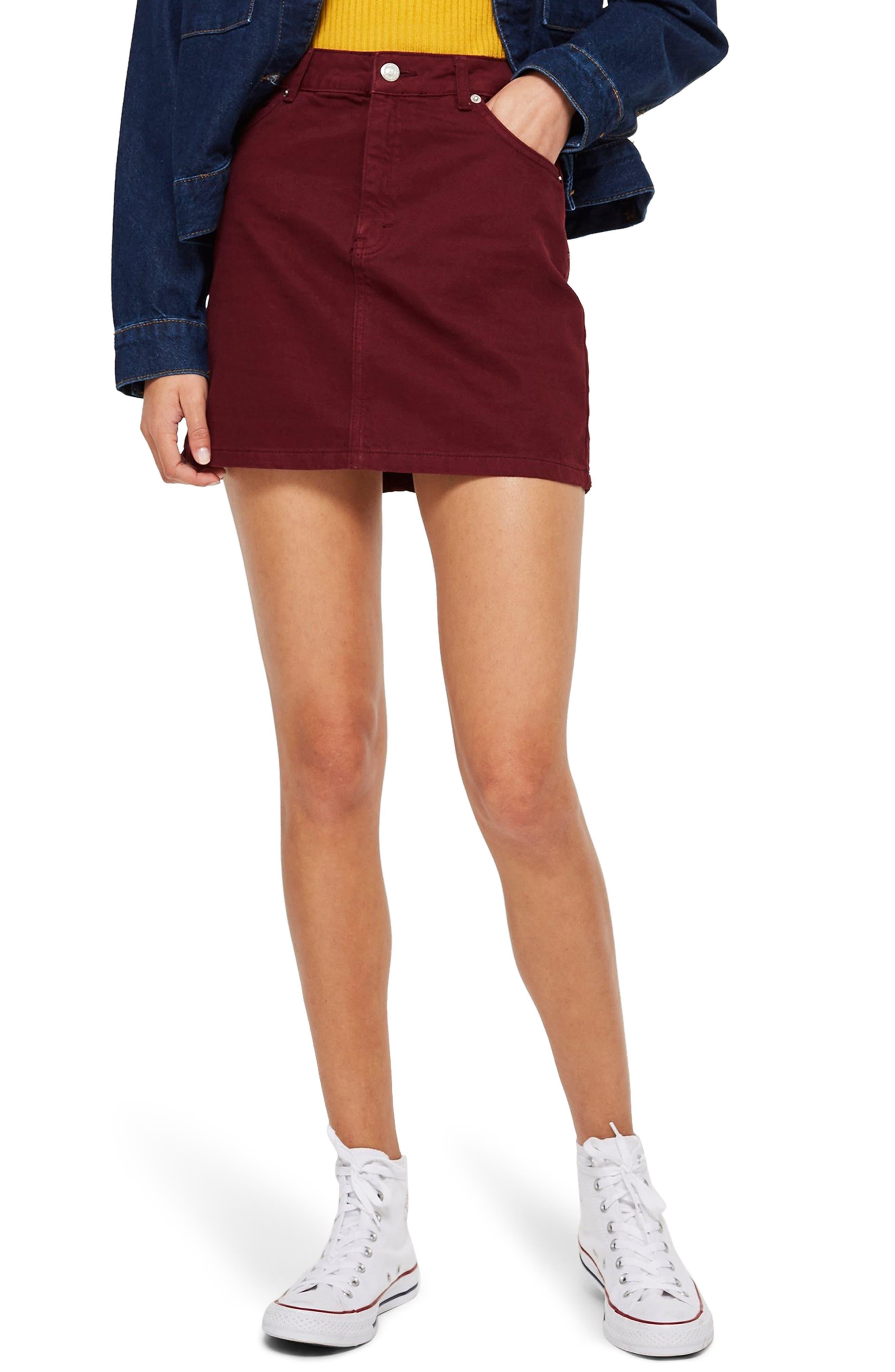 Bordeaux Denim Skirt,                         Main,                         color, BURGUNDY