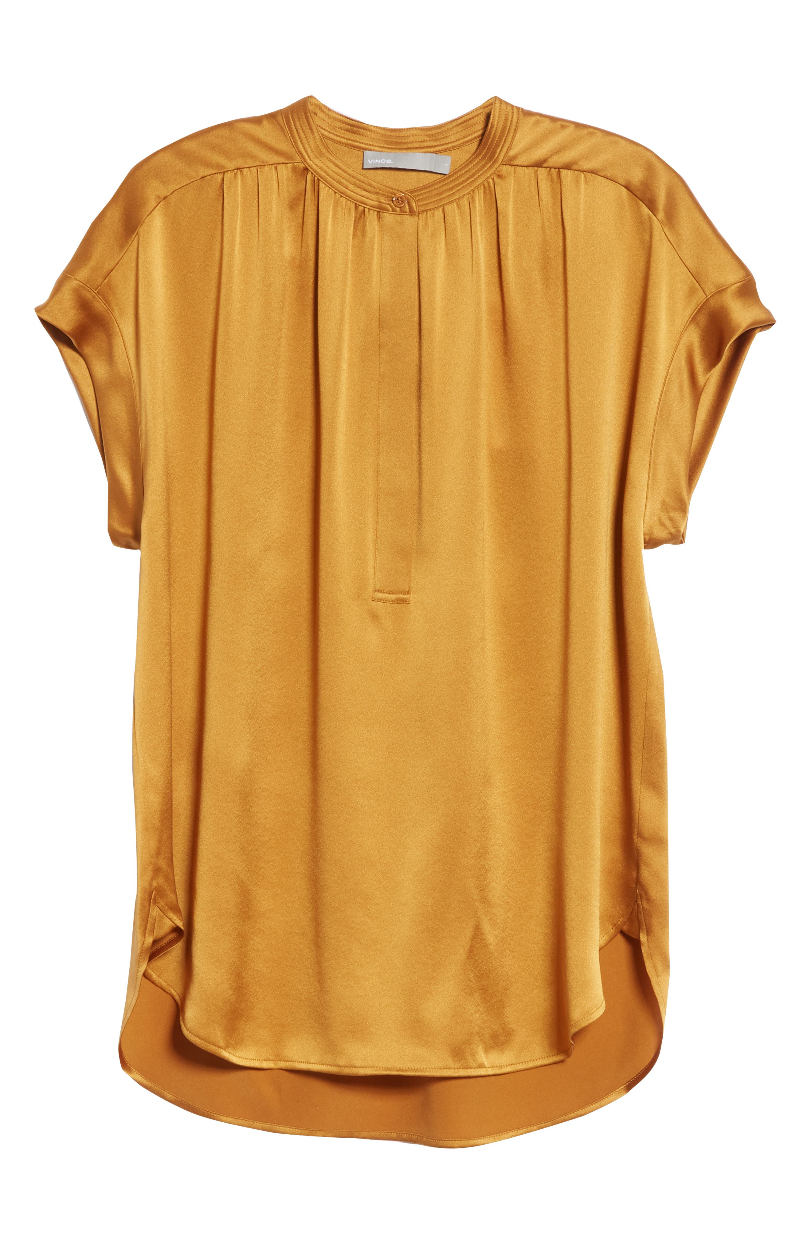 Shirred Neck Silk Top,                             Alternate thumbnail 23, color,