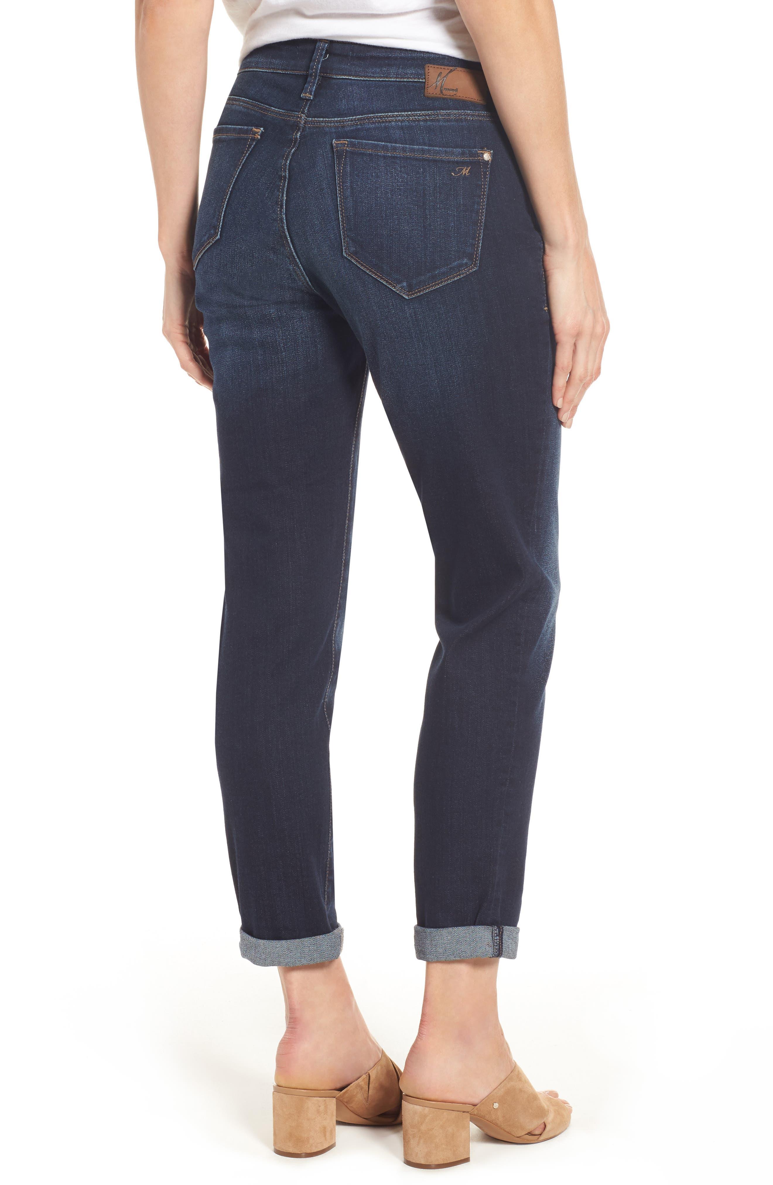 Ada Boyfriend Jeans,                             Alternate thumbnail 2, color,                             INDIGO BRUSHED