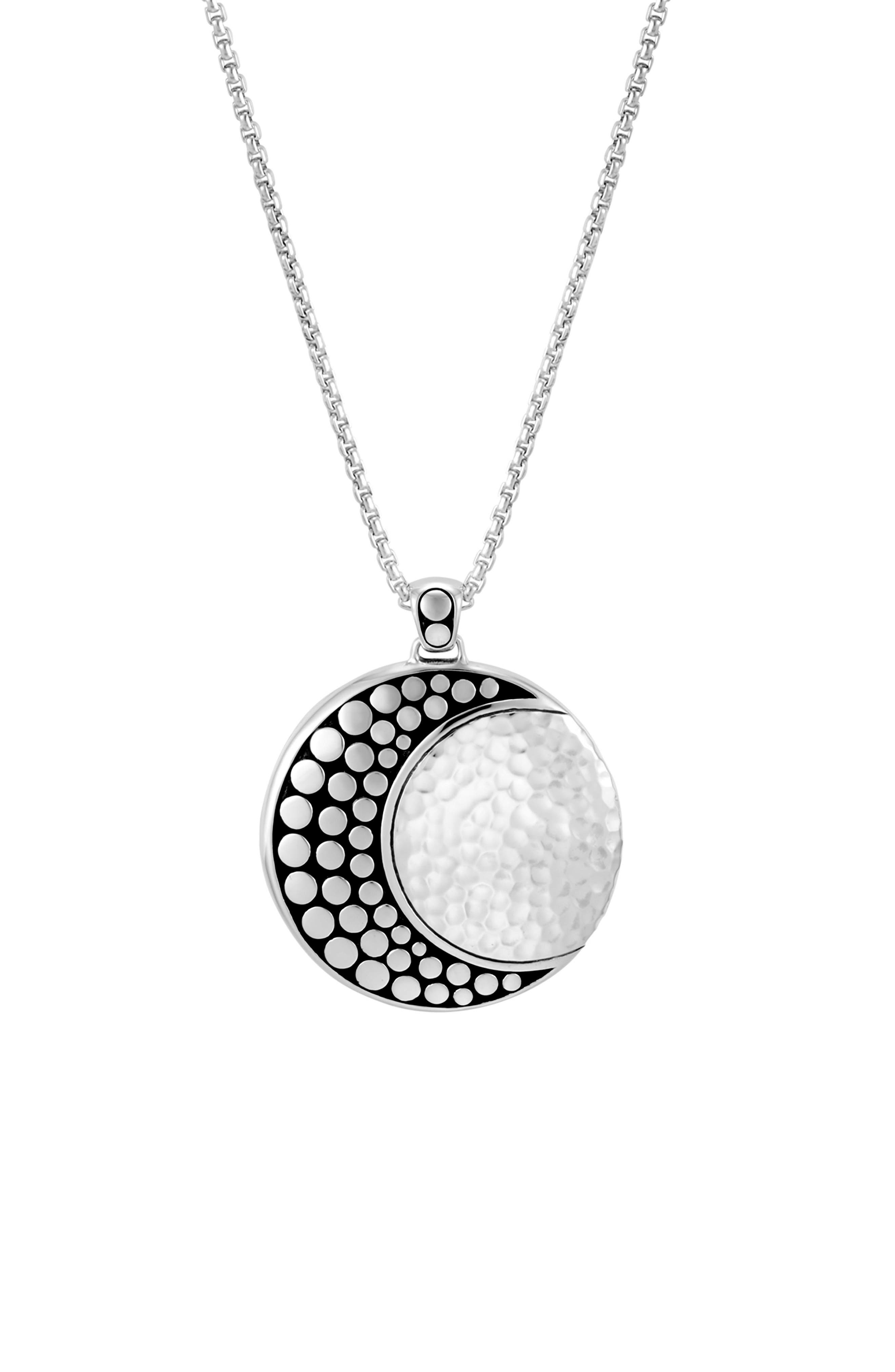 Hammered Dot Pendant Necklace,                             Alternate thumbnail 2, color,                             SILVER