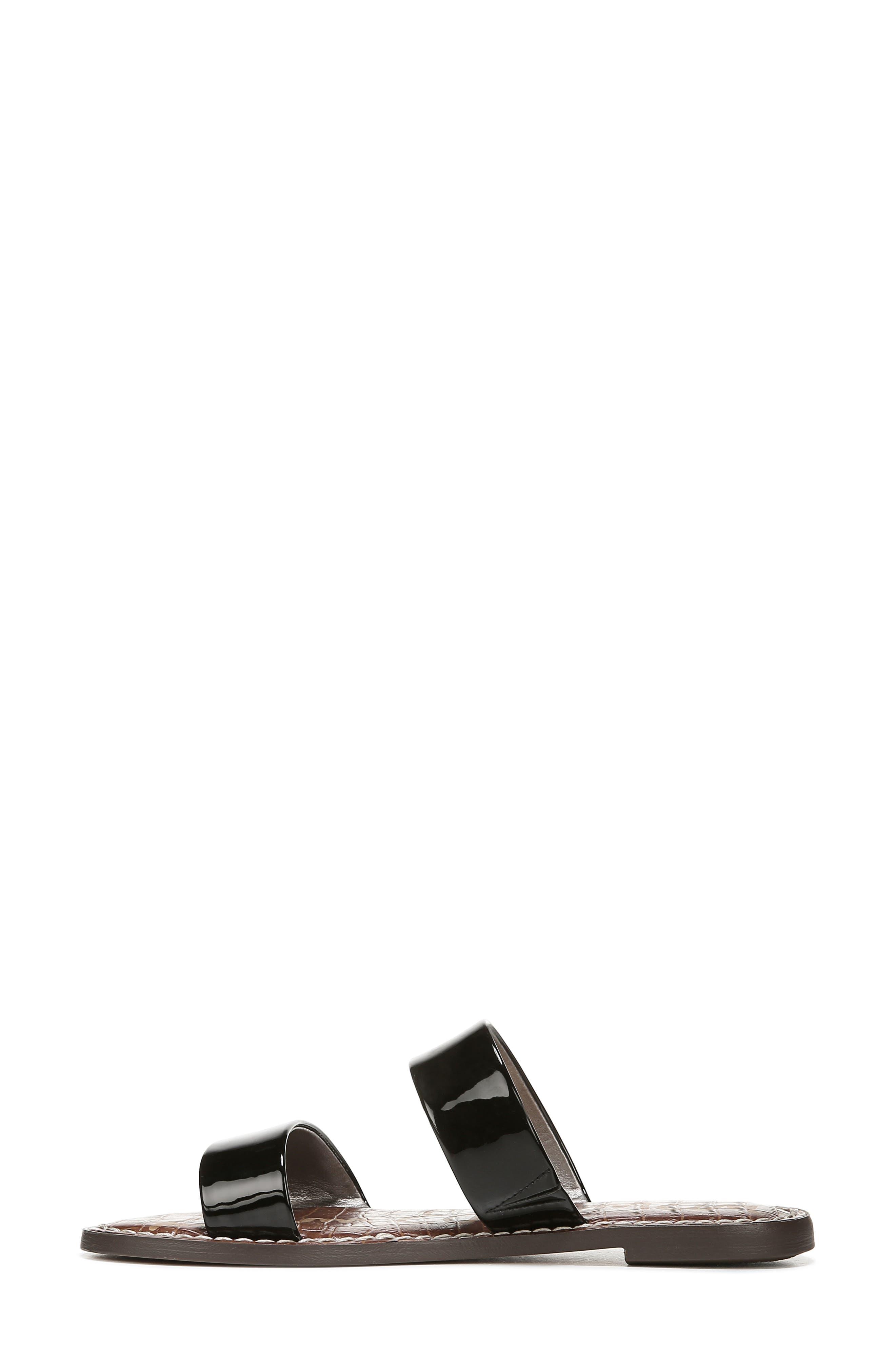 SAM EDELMAN,                             Gala Two Strap Slide Sandal,                             Alternate thumbnail 7, color,                             BLACK FAUX PATENT LEATHER