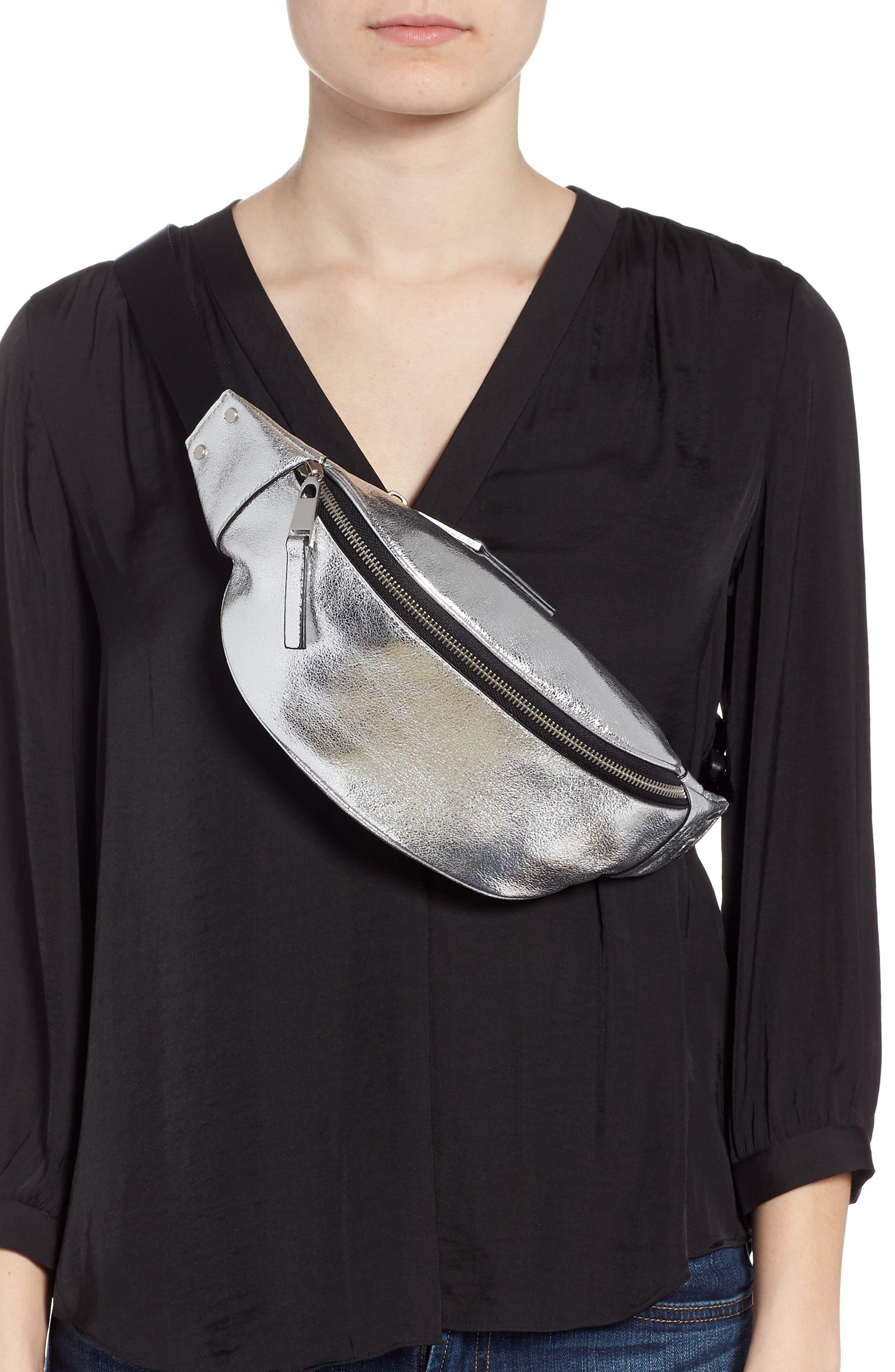 TREASURE & BOND,                             Mason Metallic Leather Belt Bag,                             Alternate thumbnail 3, color,                             SILVER