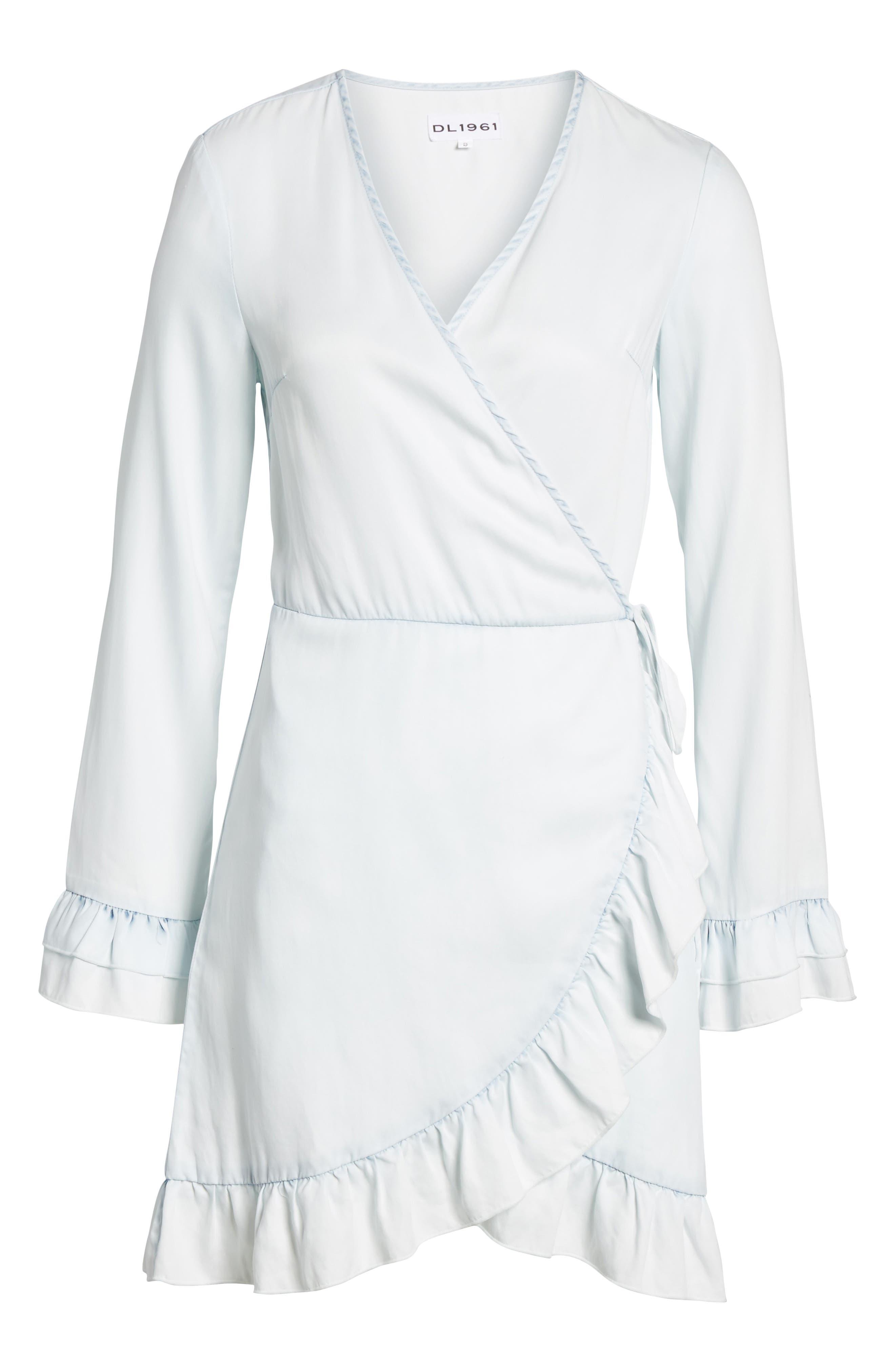 Ainsley Wrap Dress,                             Alternate thumbnail 6, color,                             IRREGULAR BLEACH