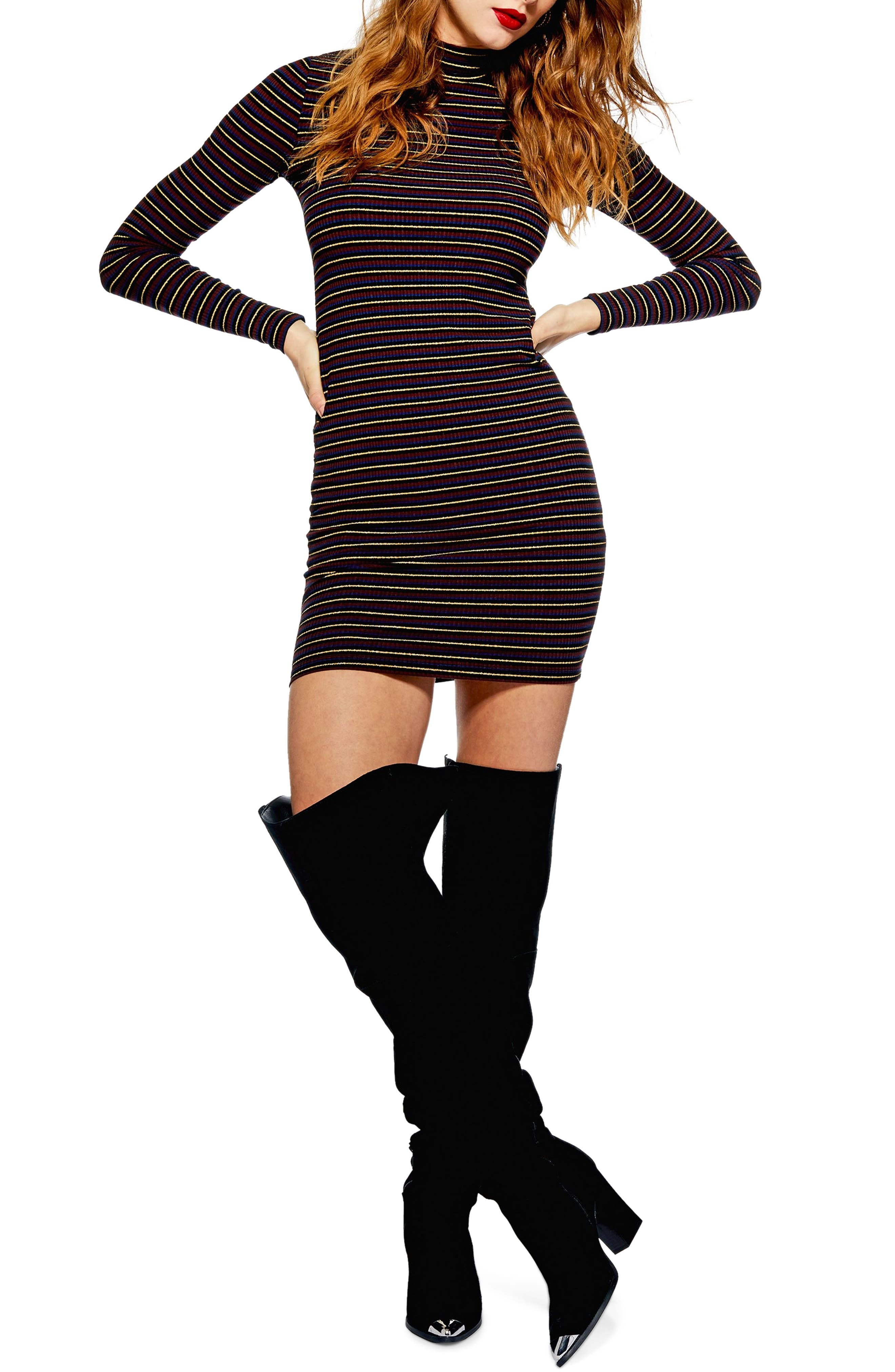 Topshop Stripe Knit Dress, US (fits like 2-4) - Burgundy